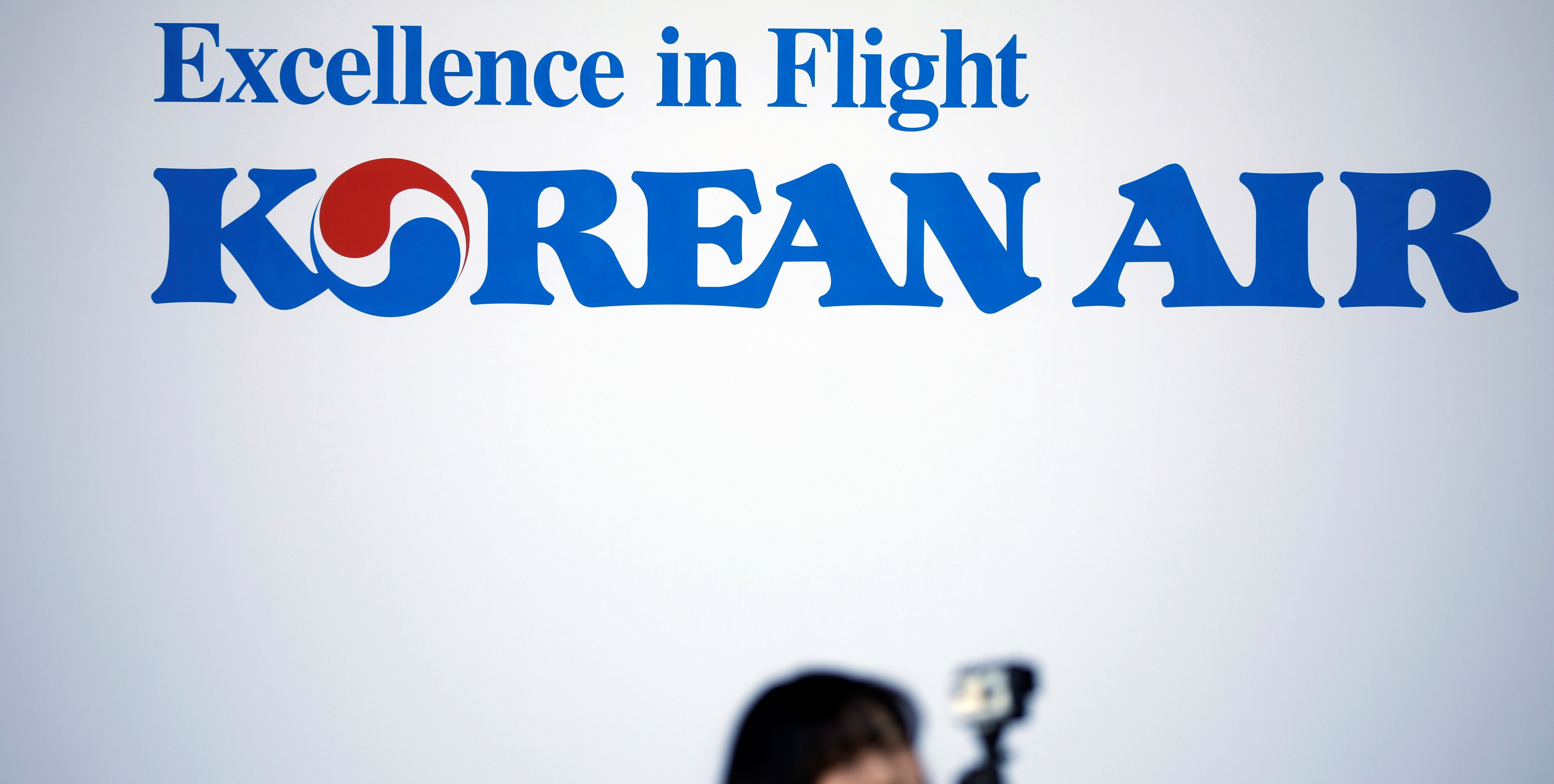 The logo of  Korean Airlines is seen at its aviation shed in Incheon
