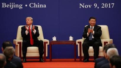 U.S. President Donald Trump and China's President Xi Jinping meet business leaders at the Great Hall of the People in Beijing, China, November 9, 2017.