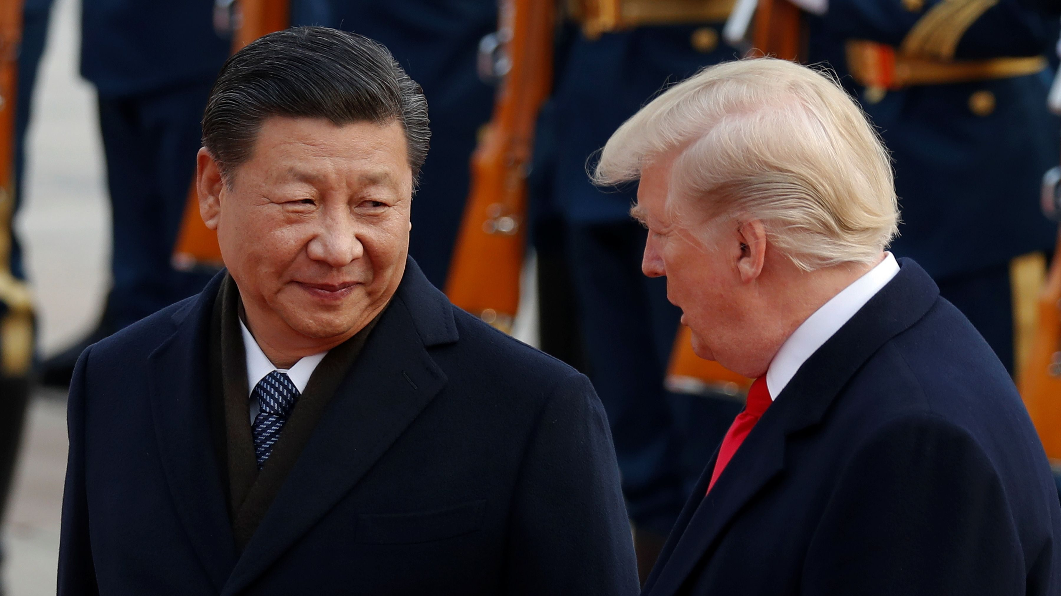 U S President Donald Trump Takes Part In A Welcoming Ceremony With Chinas President Xi Jinping At