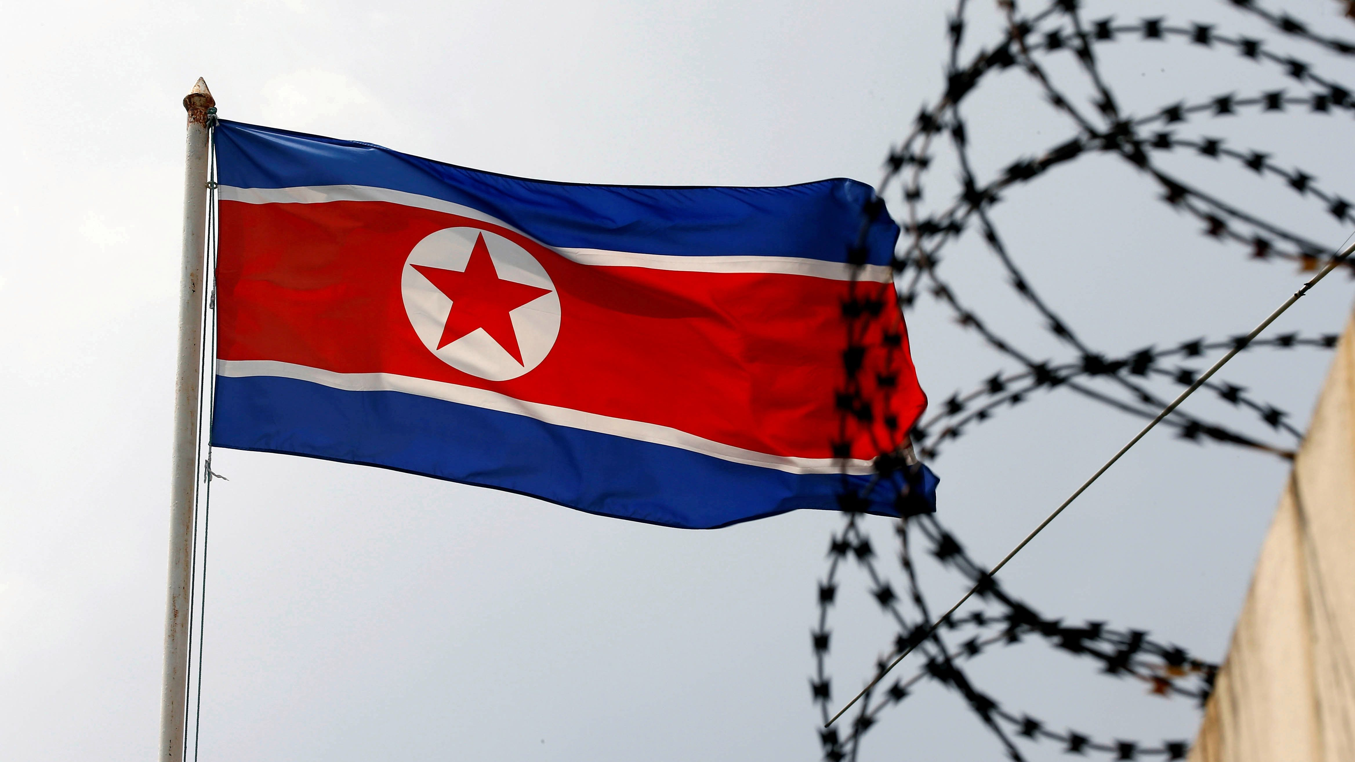 The North Korea flag flutters next to concertina wire at the North Korean embassy in Kuala Lumpur, Malaysia March 9, 2017.