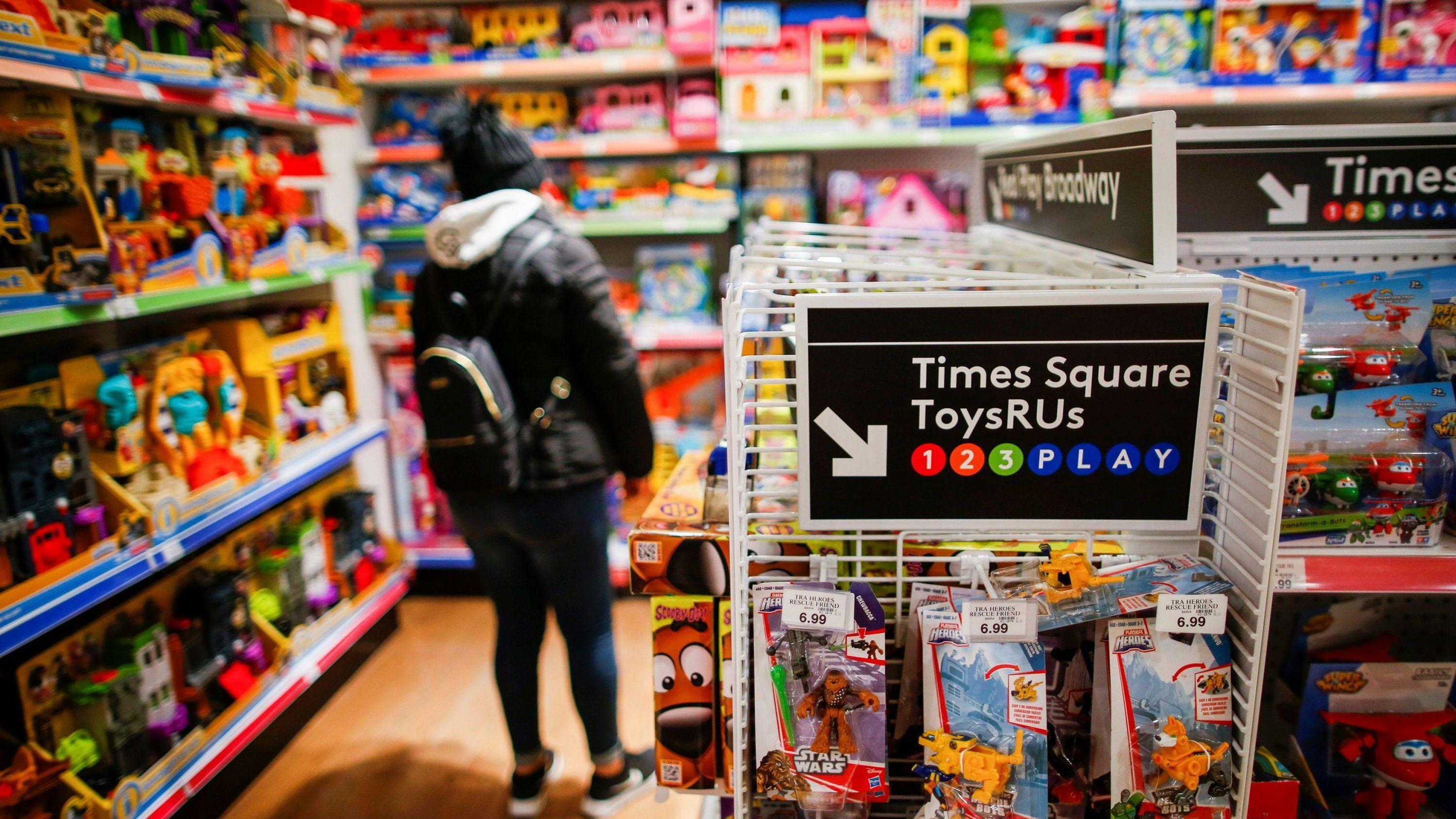 A woman visits Toys R Us store at Times Square in New York, U.S., March 9, 2018.