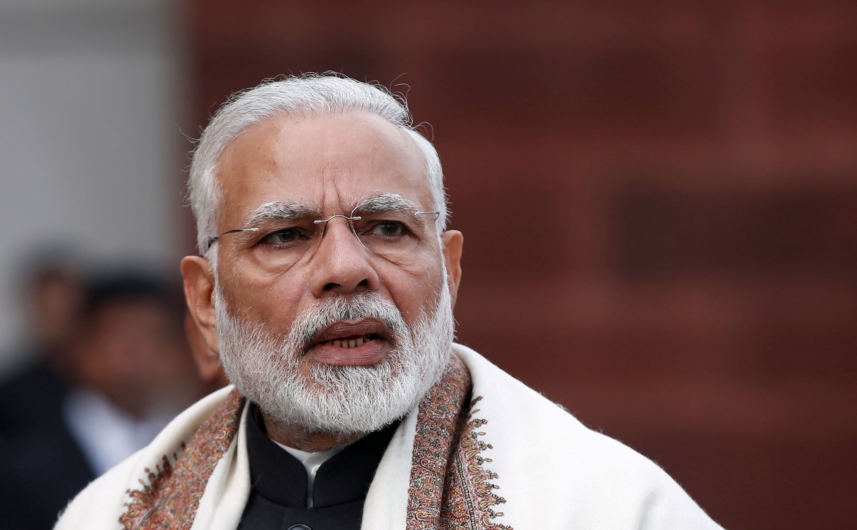 India's Prime Minister Narendra Modi speaks with the media inside the parliament premises on the first day of the budget session, in New Delhi, India, January 29, 2018.