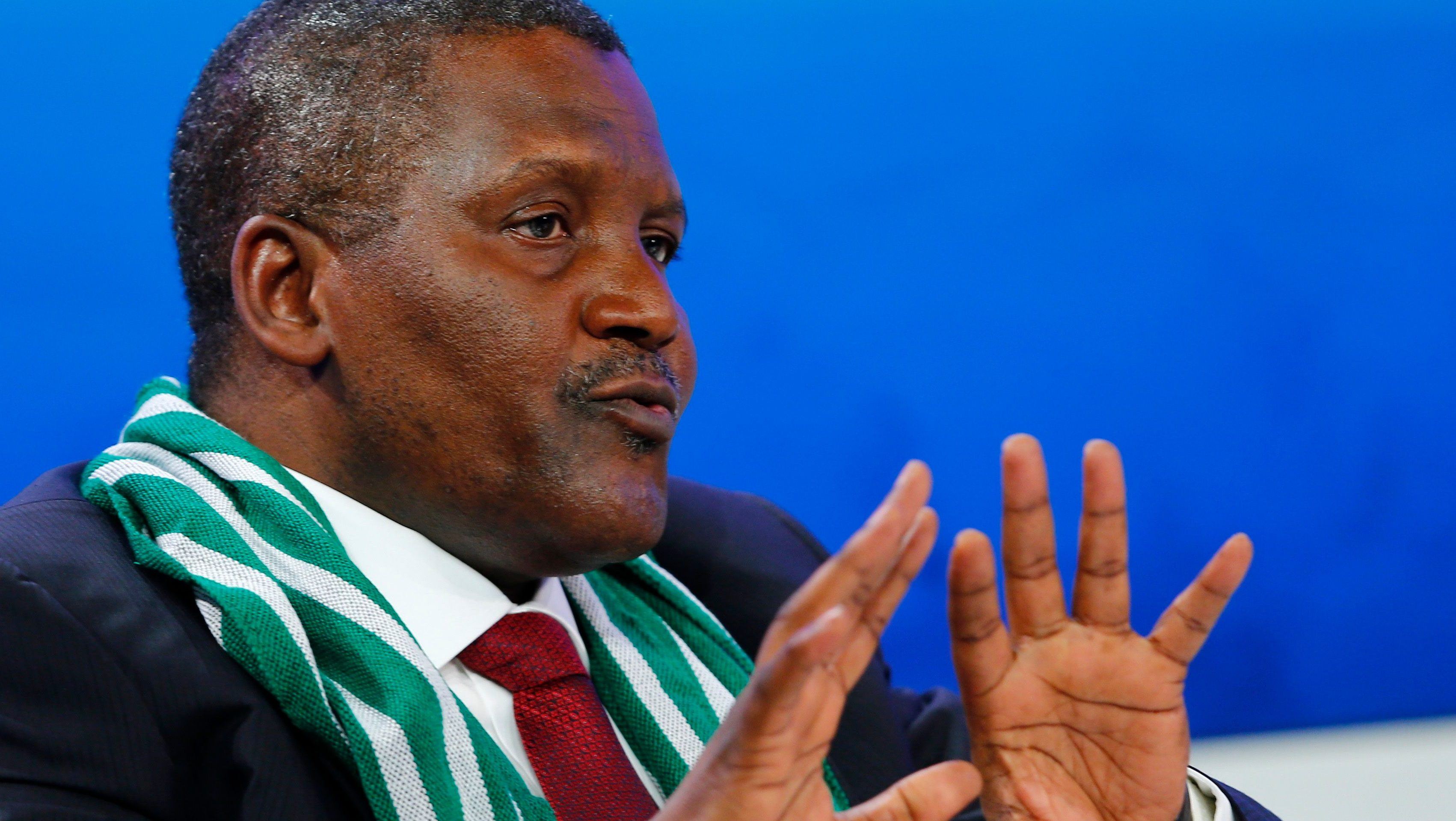 Dangote President and CEO of Dangote Group and Co-Chair of WEF 2014 speaks during session at World Economic Forum in Davos