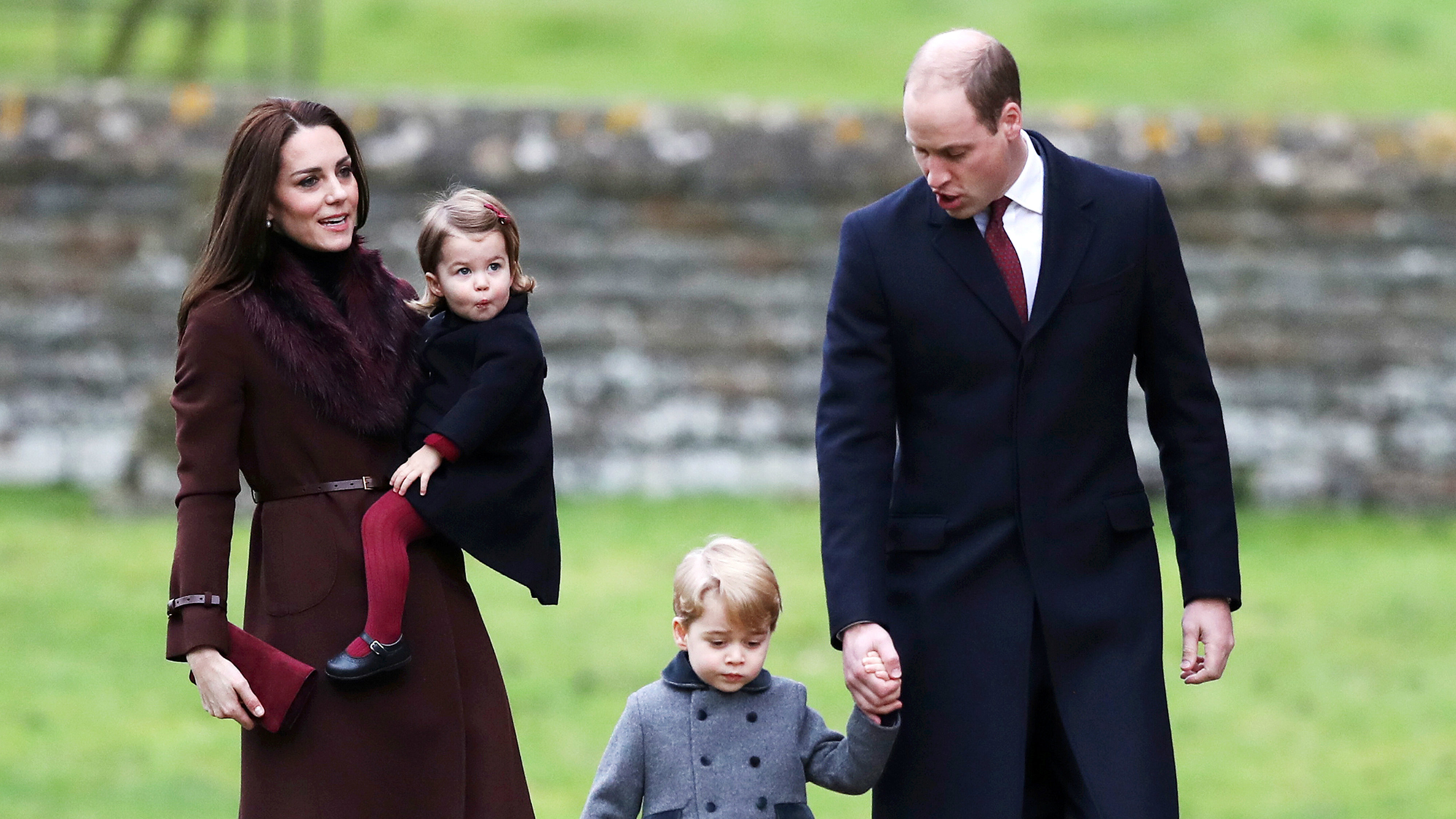 The Duke and Duchess of Cambridge and the family of the Duchess attend a Christmas Day service near Bucklebury