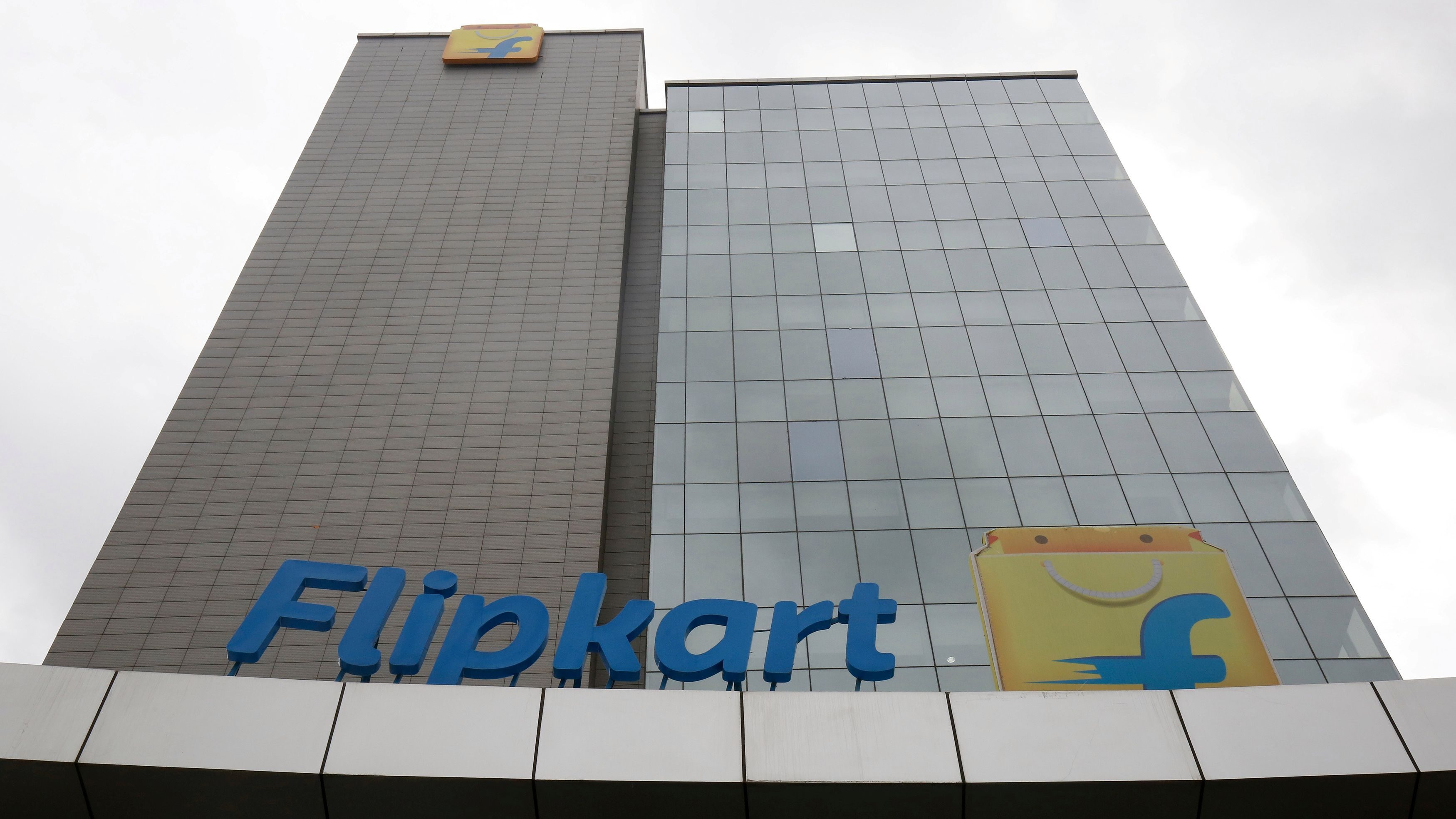 The logo of India's largest e-commerce firm Flipkart is seen on the facade of the company's headquarters in Bengaluru, India July 7, 2017.