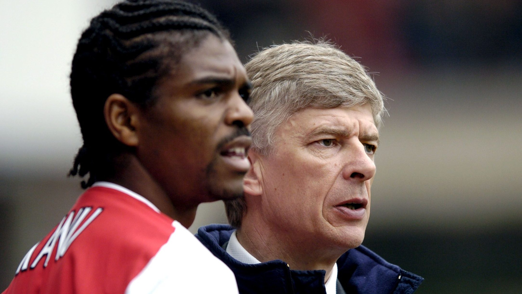 Football - FA Cup Semi-Final - Arsenal v Manchester United - Villa Park - 3/4/04  Arsene Wenger - Arsenal Manager and Nwankwo Kanu