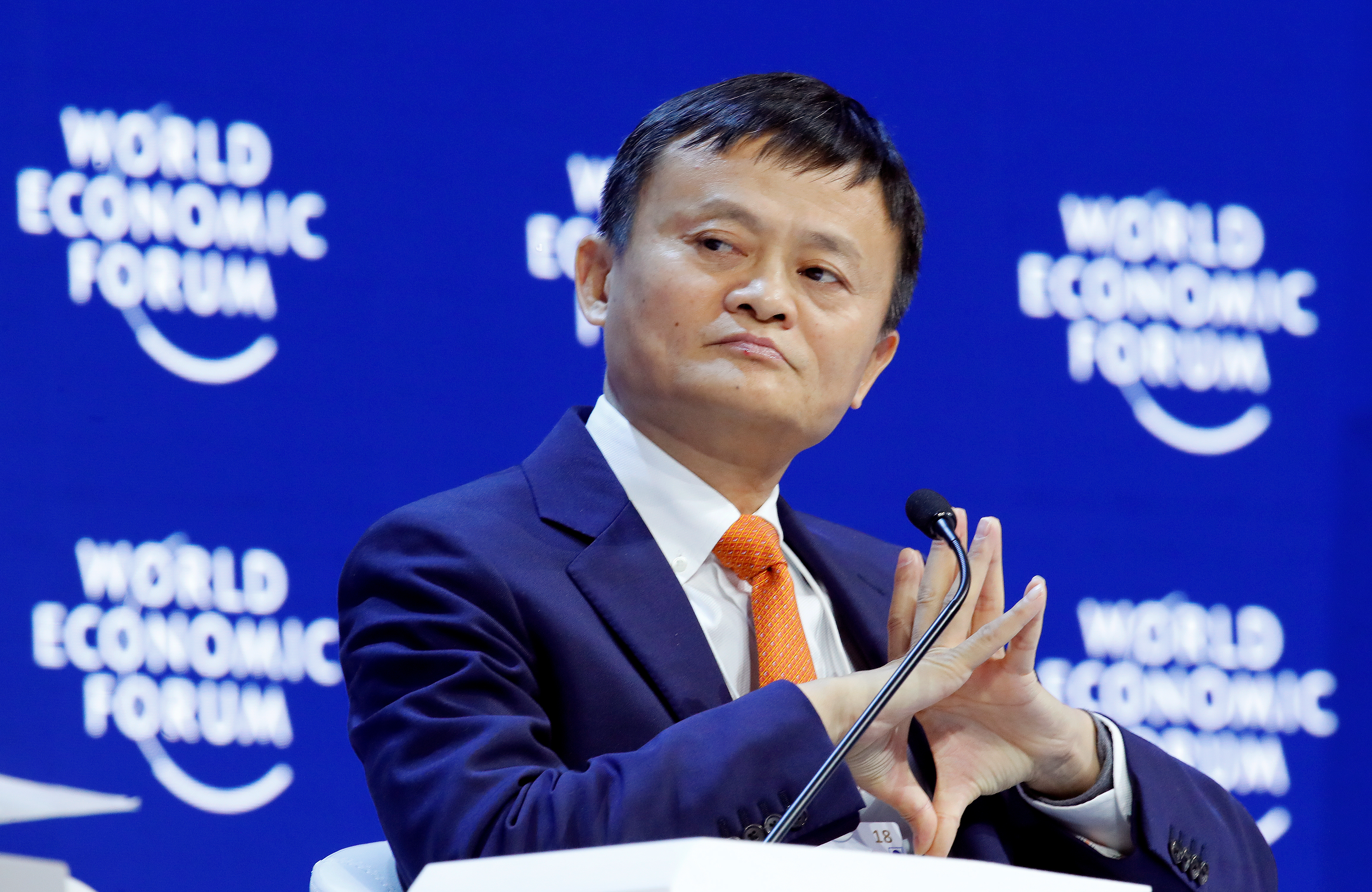 Jack Ma, Executive Chairman of Alibaba Group Holding, gestures during the World Economic Forum (WEF) annual meeting in Davos, Switzerland January 24, 2018.