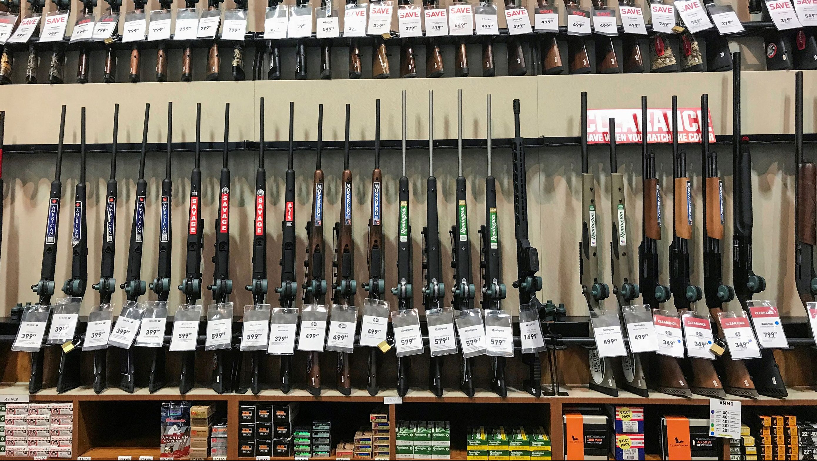 Guns for sale are seen inside of Dick's Sporting Goods store in Stroudsburg, Pennsylvania, U.S., February 28, 2018.