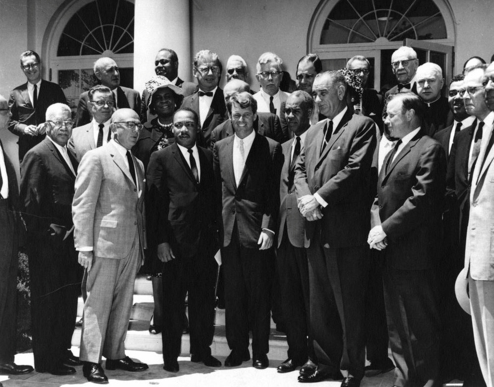 Attorney General Robert F. Kennedy meets with civil rights leaders, including Dr. Martin Luther King Jr., in the Rose Garden of the White House, Washington, D.C., June 22, 1963.