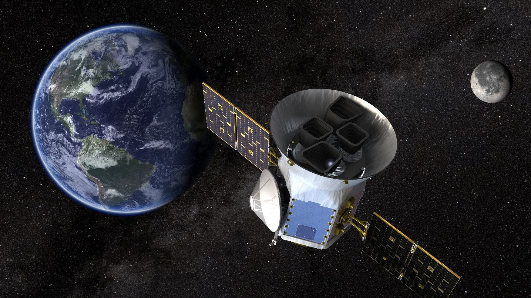 TESS, the Transiting Exoplanet Survey Satellite, is shown in this conceptual illustration obtained by Reuters on March 28, 2018.  NASA plans to send TESS into orbit from the Kennedy Space Center in Florida aboard a SpaceX Falcon 9 rocket set for blastoff sometime between April 16 and June on a two-year mission.    NASA's Goddard Space Flight Center/Handout via REUTERS   ATTENTION EDITORS - THIS IMAGE WAS PROVIDED BY A THIRD PARTY. - RC112CF93F70