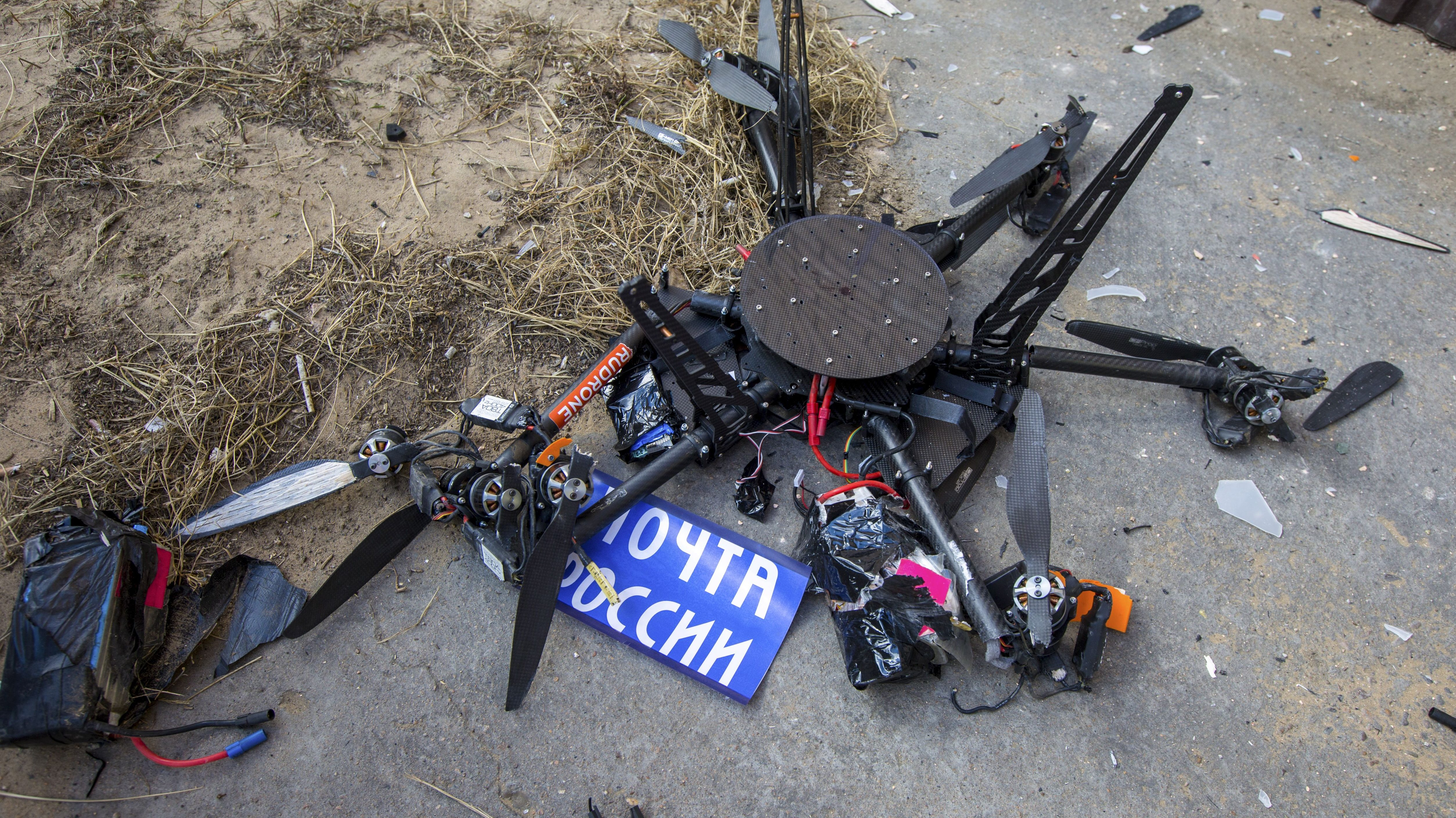 A view shows a damaged mail delivery drone, which crashed into a building during a test launch in Ulan-Ude
