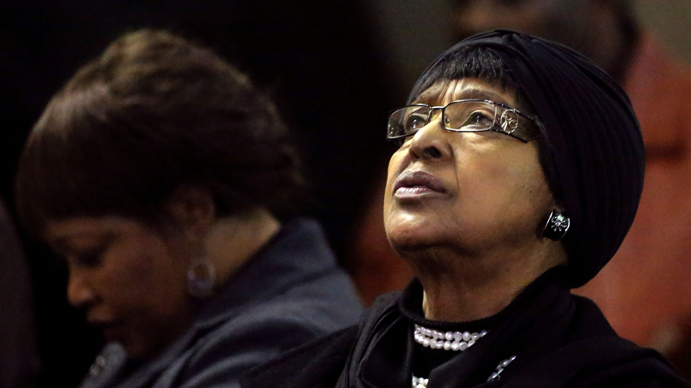 Winnie Madikizela-Mandela, ex-wife of former South African President Nelson Mandela, and her daughter Zindzi attend a prayer service for the ailing Mandela at a church in Johannesburg July 5, 2013.