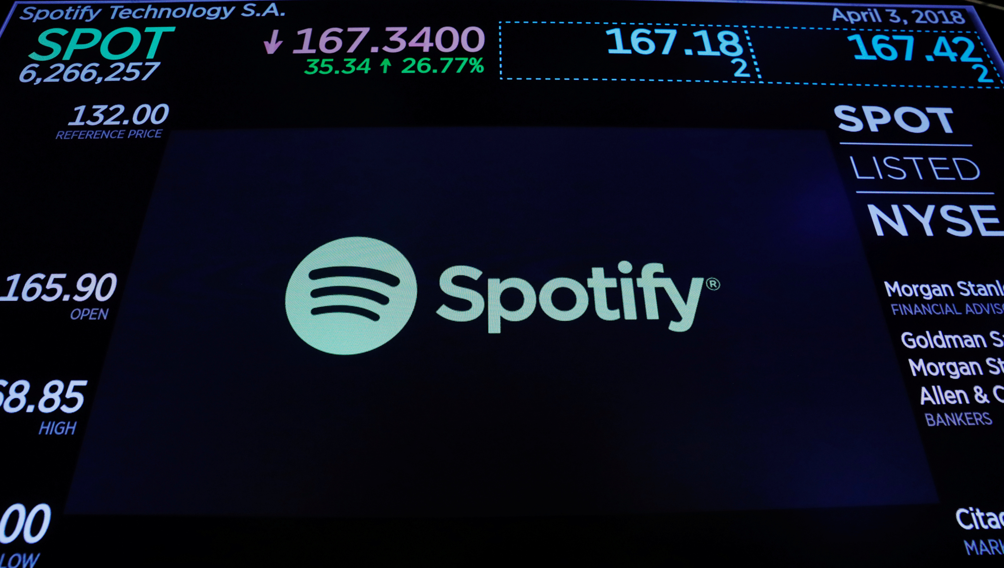 The Spotify logo is displayed after the stock began selling as a direct listing on the floor of the New York Stock Exchange in New York, U.S., April 3, 2018.  REUTERS/Lucas Jackson - RC199AA13920