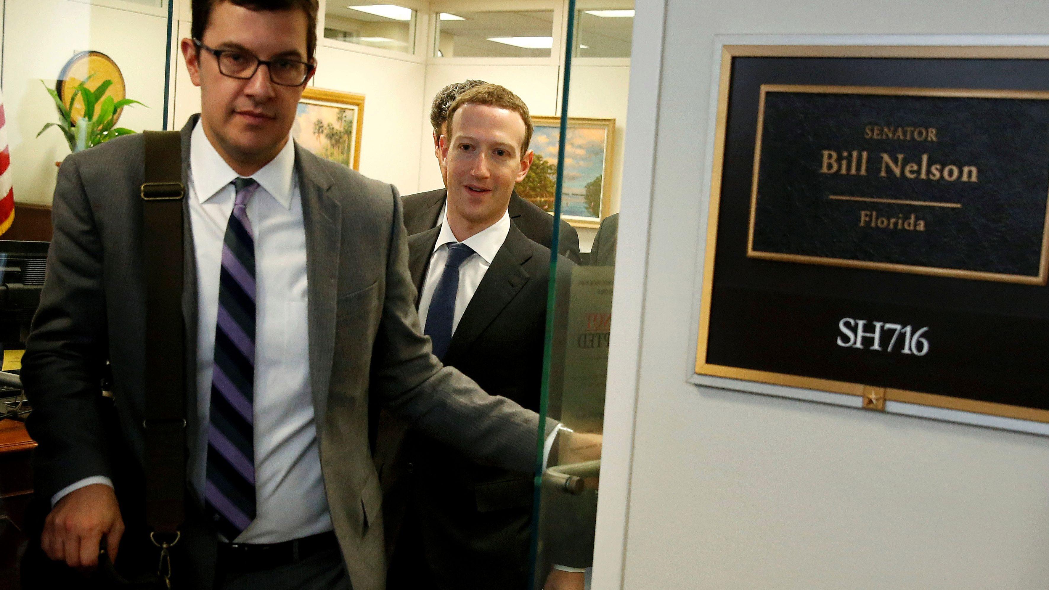 Facebook Chief Executive Officer Mark Zuckerberg leaves a meeting with Senator Bill Nelson (D-FL) on Capitol Hill in Washington, U.S., April 9, 2018.      REUTERS/Joshua Roberts - RC1F89C0EEB0