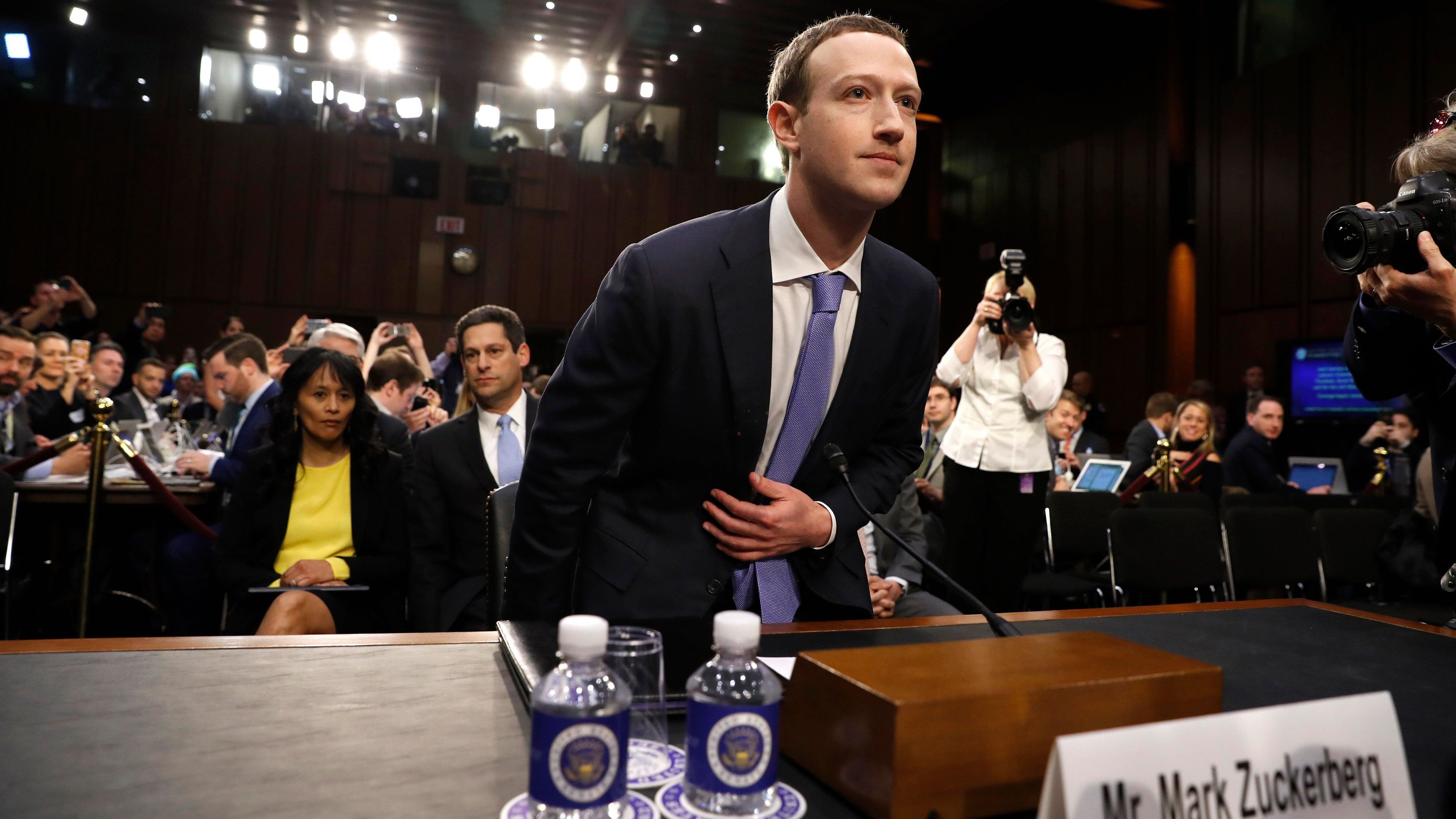 Facebook CEO Mark Zuckerberg arrives to testify before a Senate Judiciary and Commerce Committees joint hearing regarding the company's use and protection of user data, on Capitol Hill in Washington, U.S., April 10, 2018. REUTERS/Aaron P. Bernstein - HP1EE4A1G3550