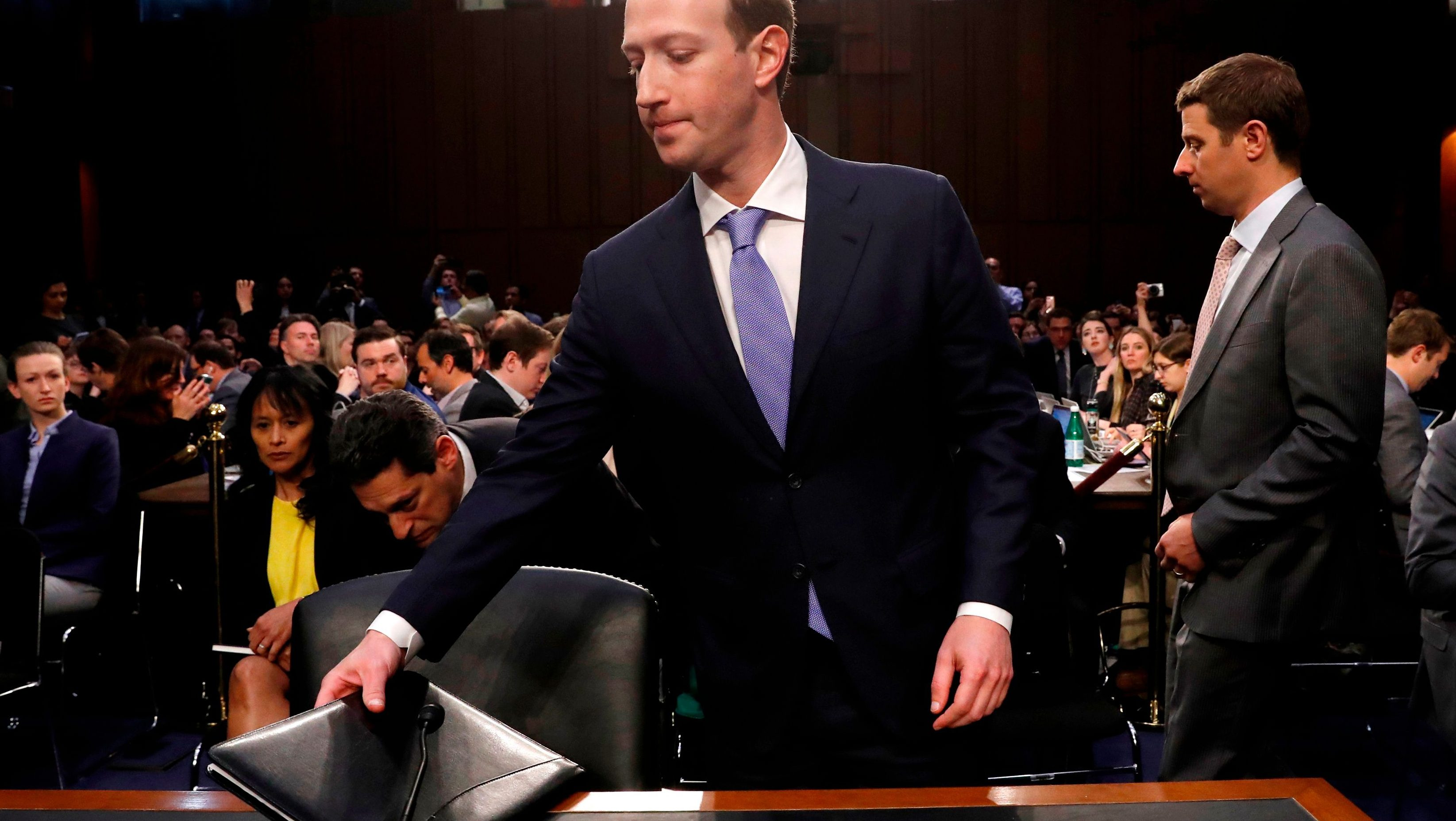 Facebook CEO Mark Zuckerberg sits down following a break to resume testifying before a joint Senate Judiciary and Commerce Committees hearing regarding the company's use and protection of user data, on Capitol Hill in Washington, U.S., April 10, 2018. REUTERS/Leah Millis - HP1EE4A1LLR6S