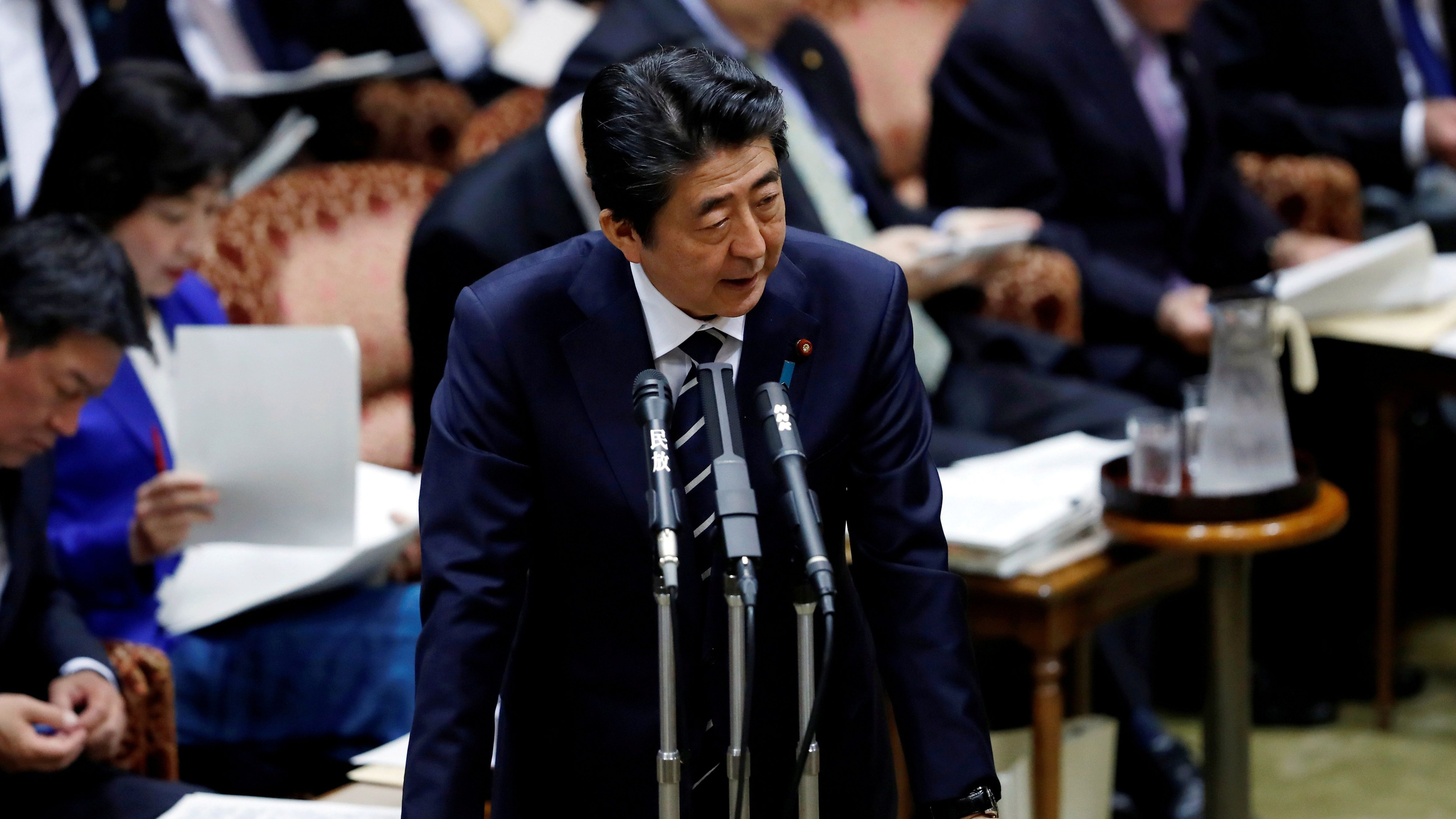 Japan's Prime Minister Shinzo Abe answers a question during an upper house parliamentary session in Tokyo, Japan March 28, 2018.