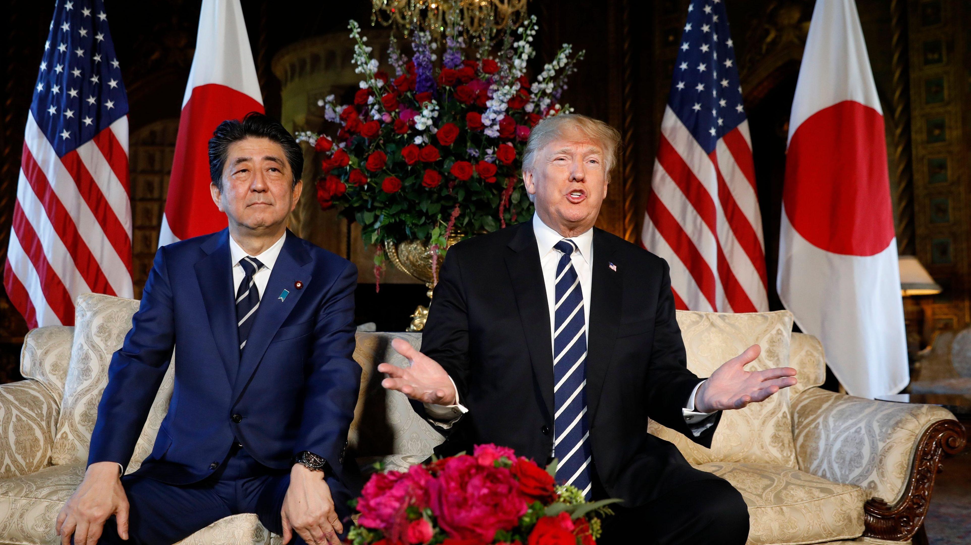 U.S. President Donald Trump speaks alongside Japan's Prime Minister Shinzo Abe before their bilateral meeting at Trump's Mar-a-Lago estate in Palm Beach, Florida U.S., April 17, 2018. REUTERS/Kevin Lamarque - HP1EE4H1HWXPJ