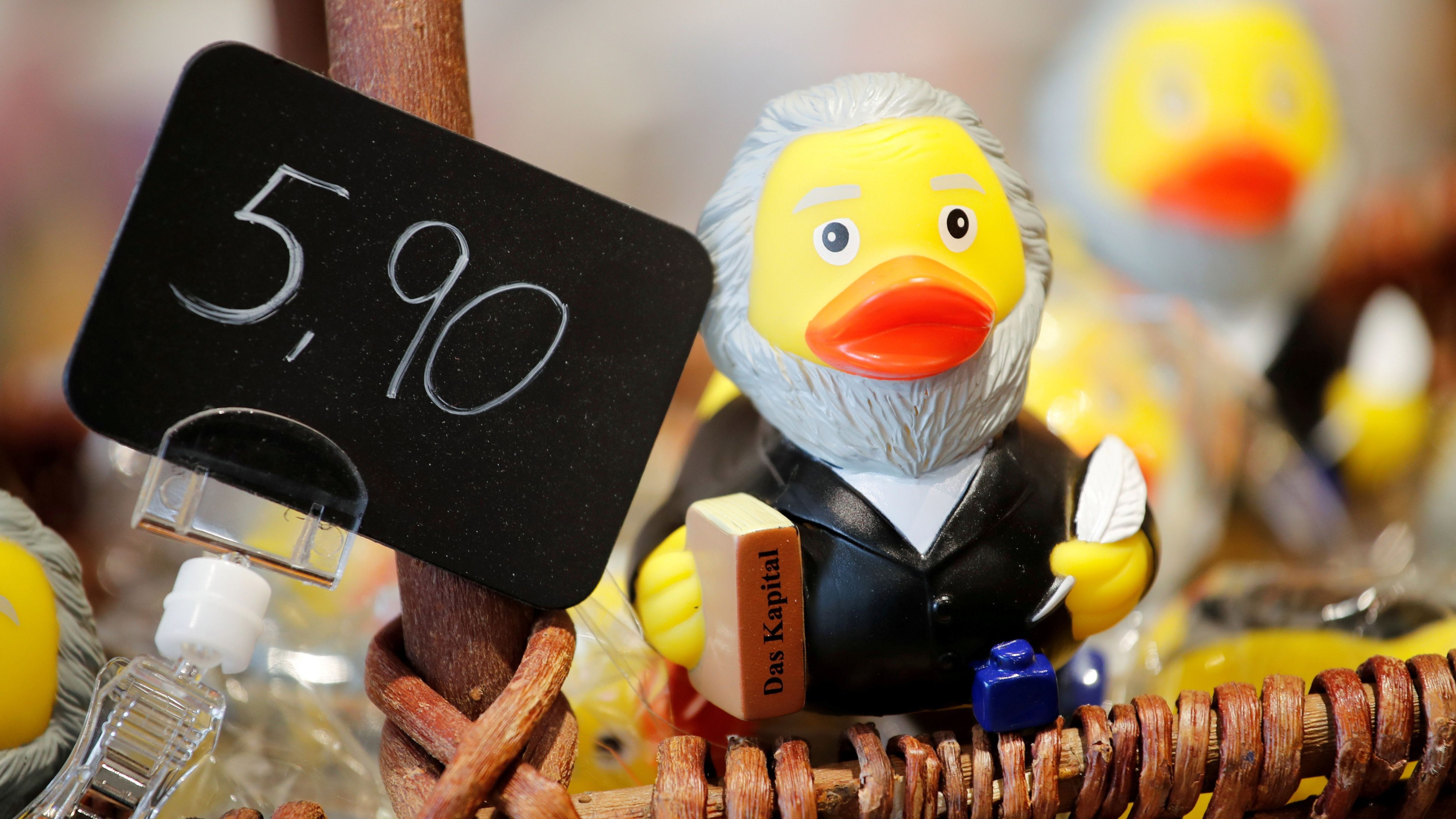 A rubber duck depicting German philosopher Karl Marx is for sale in his hometown of Trier, Germany.