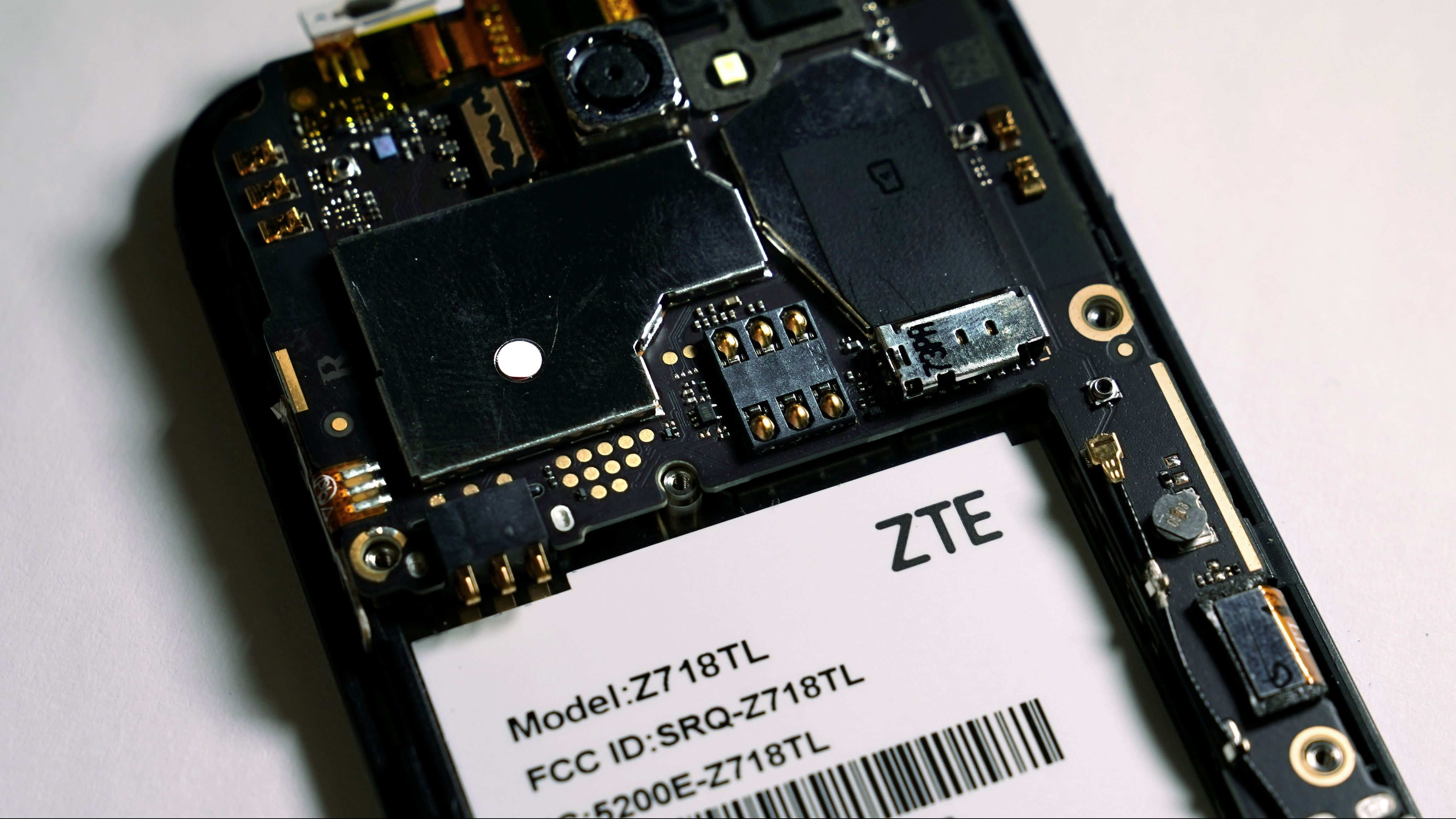 The inside of a ZTE smart phone is pictured in this illustration taken April 17, 2018.