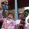 Supporters of the royal family celebrate outside the Lindo Wing of St Mary's Hospital after Britain's Catherine, the Duchess of Cambridge, gave birth to a son, in London
