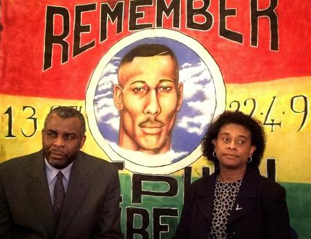 The Parents of murdered black teenager Stephen Lawrence, Neville (L) and Doreen, speak to the media ..