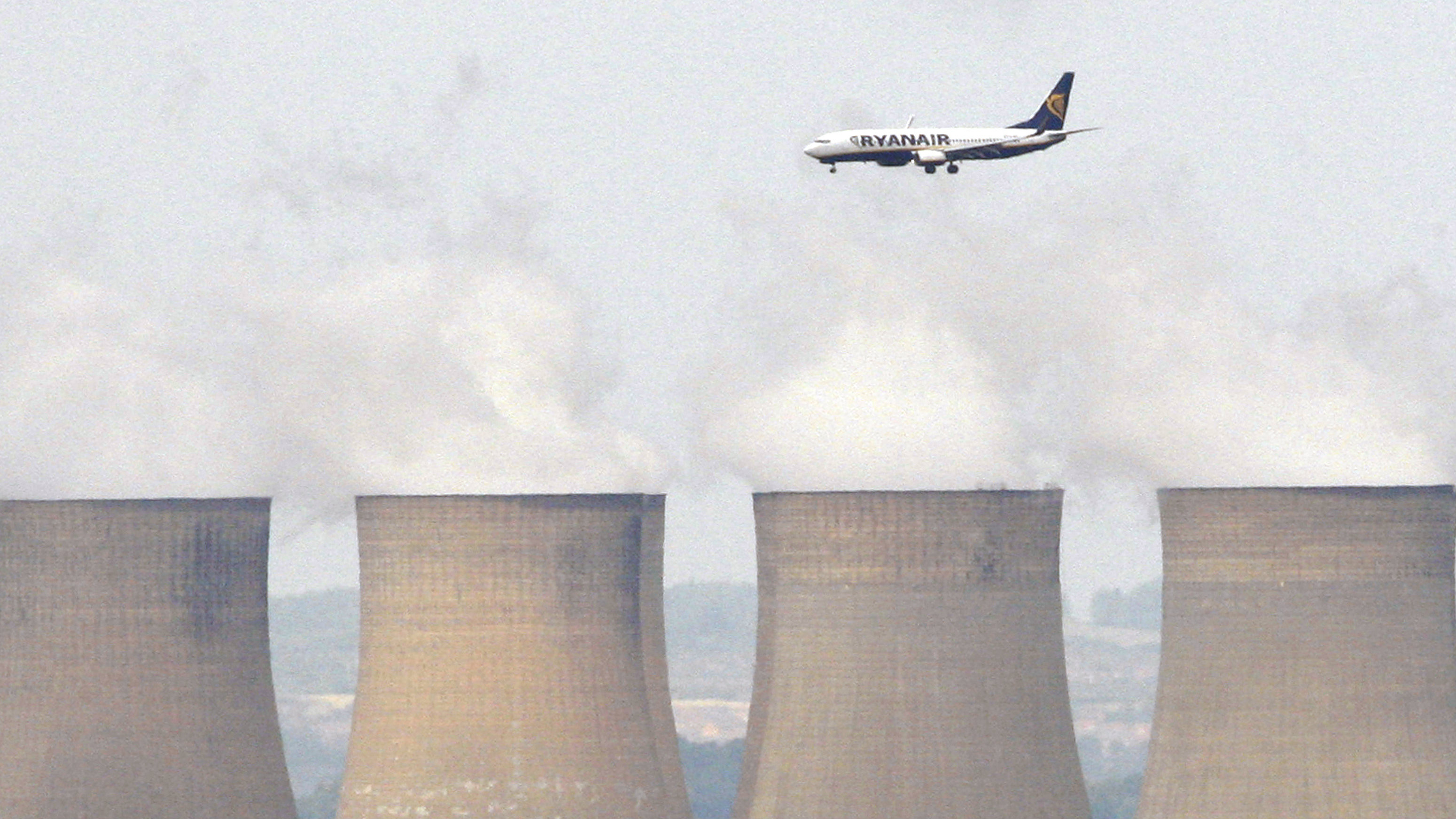 Ryanair flies over power station