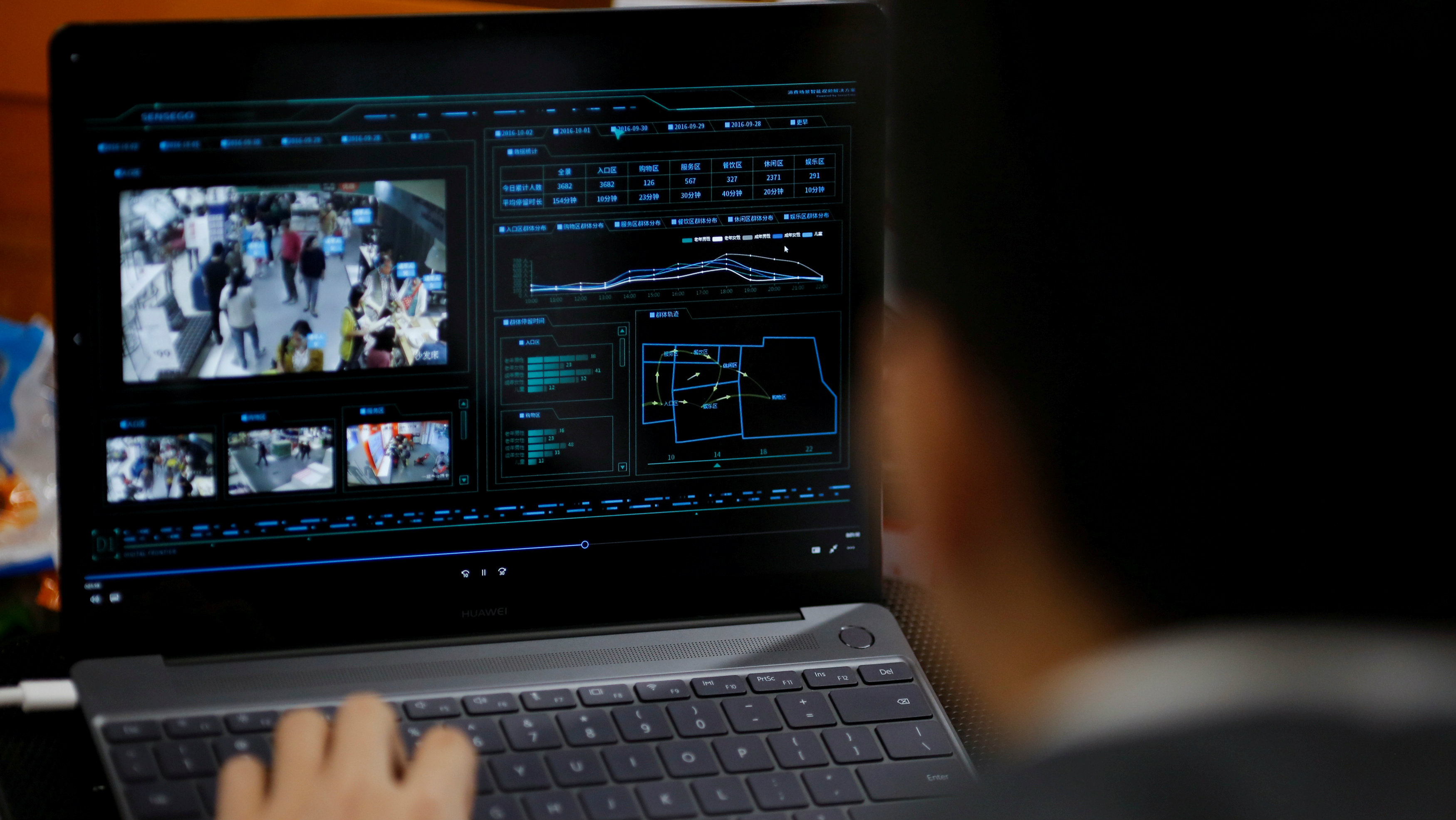 SenseTime Co-Founder Xu Chiheng demonstrates surveillance software of his company on a laptop at the SenseTime office in Beijing, China
