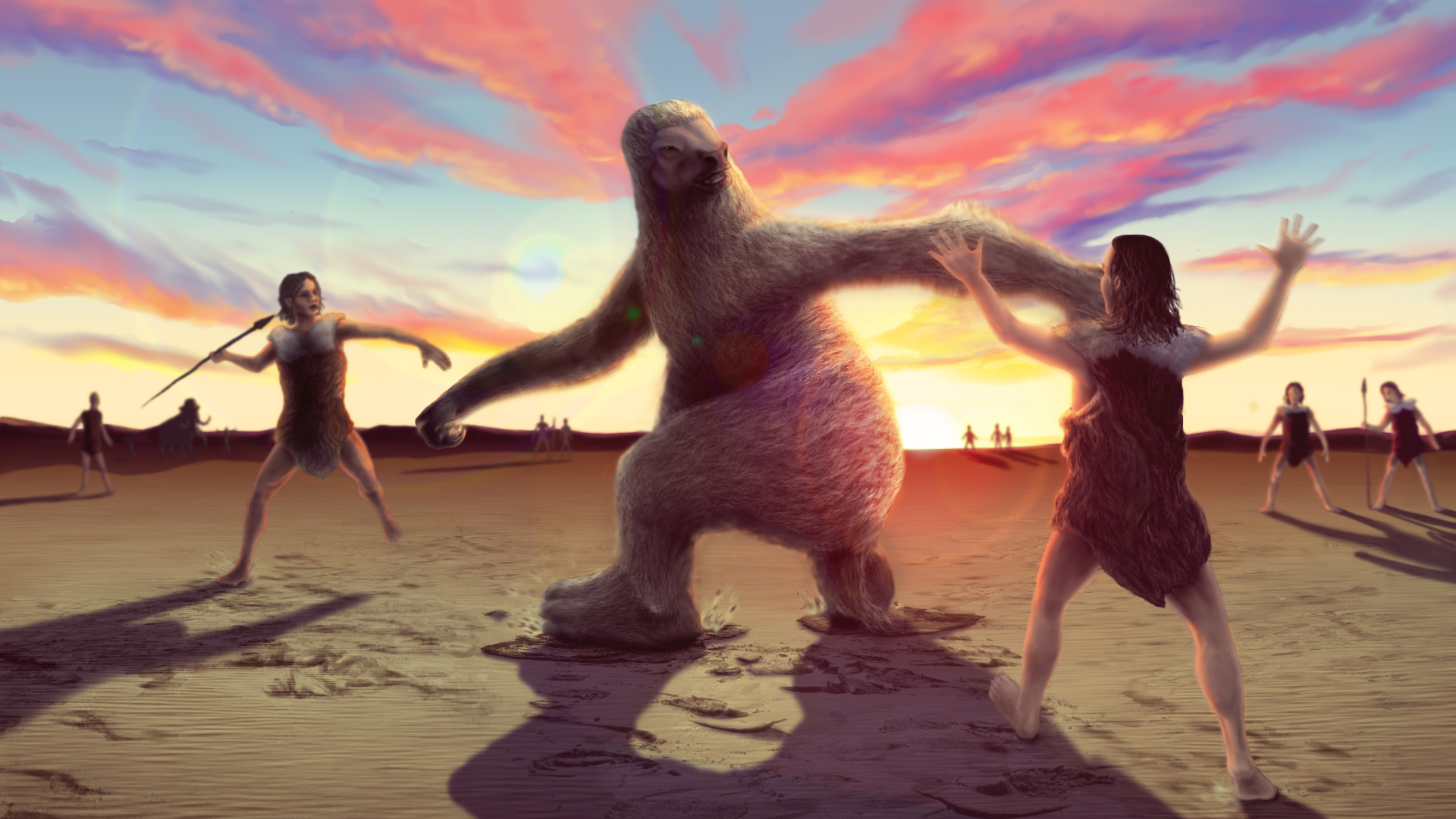 Reconstruction based on the fossil footprint evidence showing how human hunters stalked giant ground sloth to distract them before trying to land a killing blow.