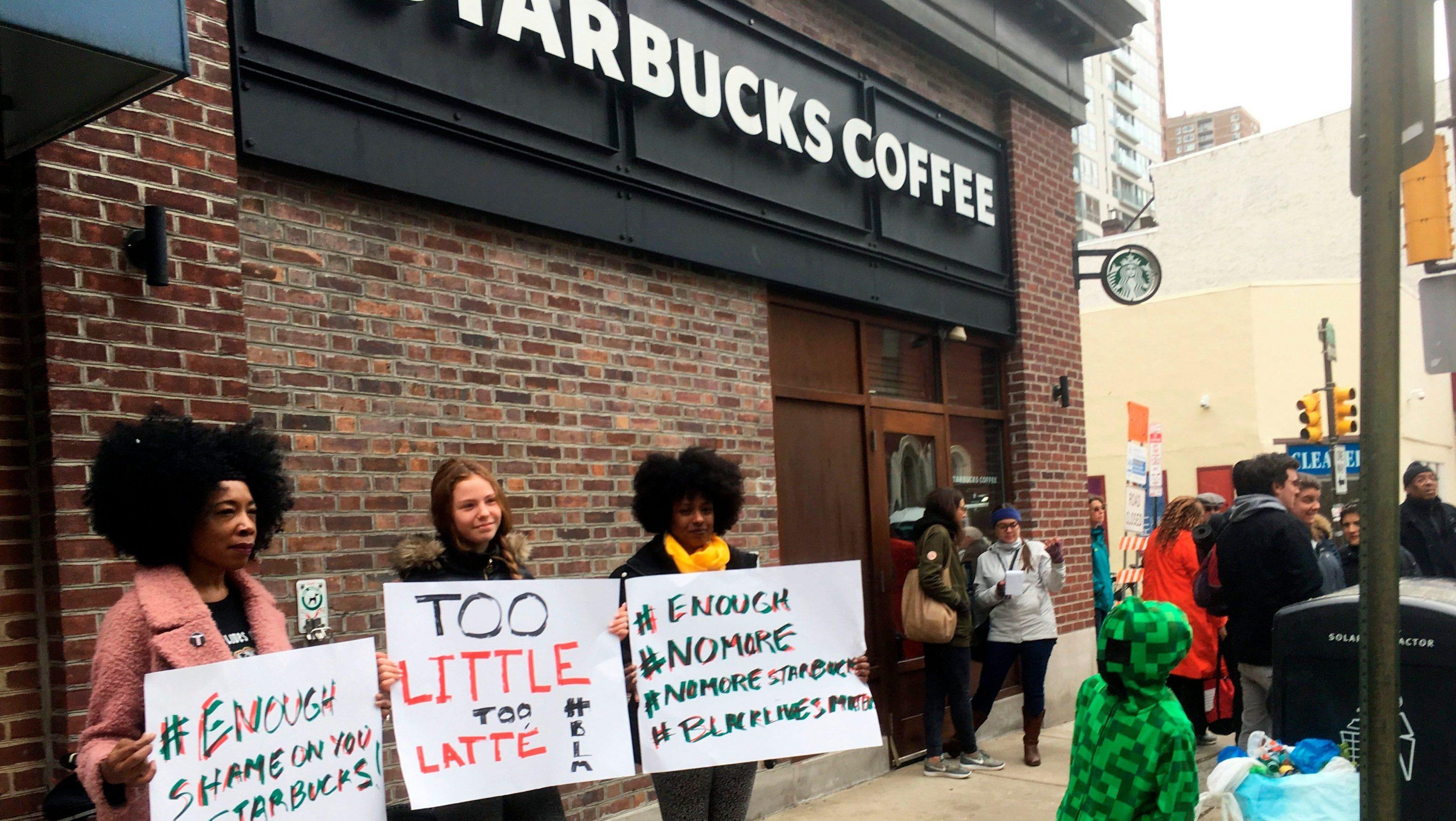 Protestors outside the Philadelphia Starbucks April 15.