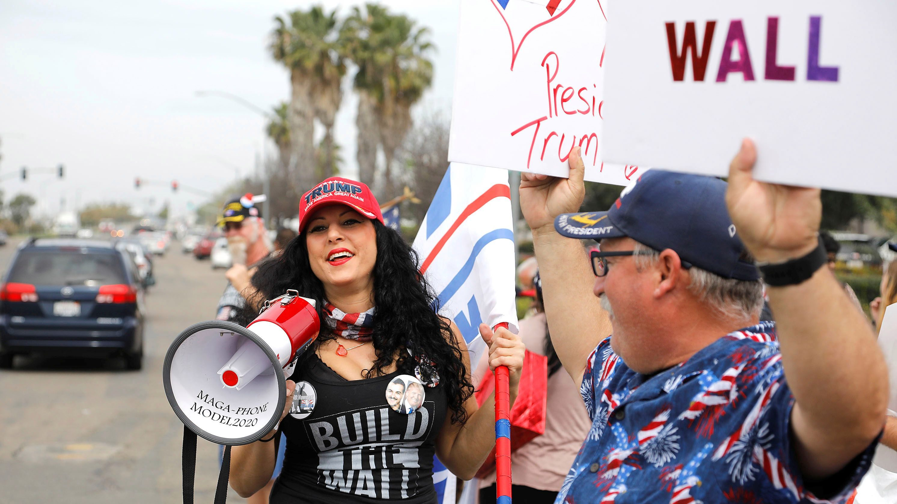 U.S. President Donald Trump's supporters rally near the US-Mexico border