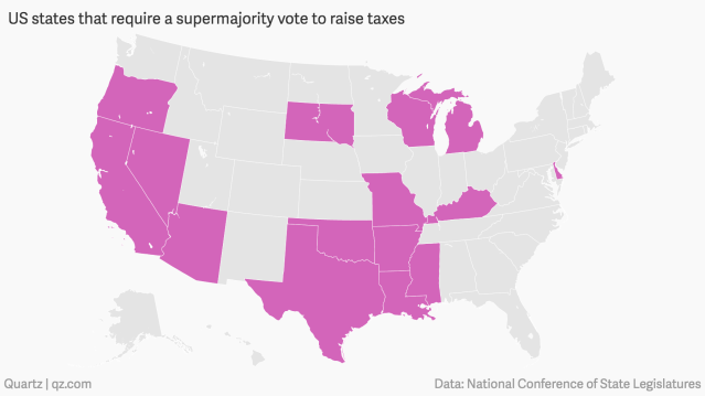 US-states-that-require-a-supermajority-vote-to-raise-taxes_mapbuilder