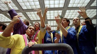 Traders in the US treasury bond futures pit
