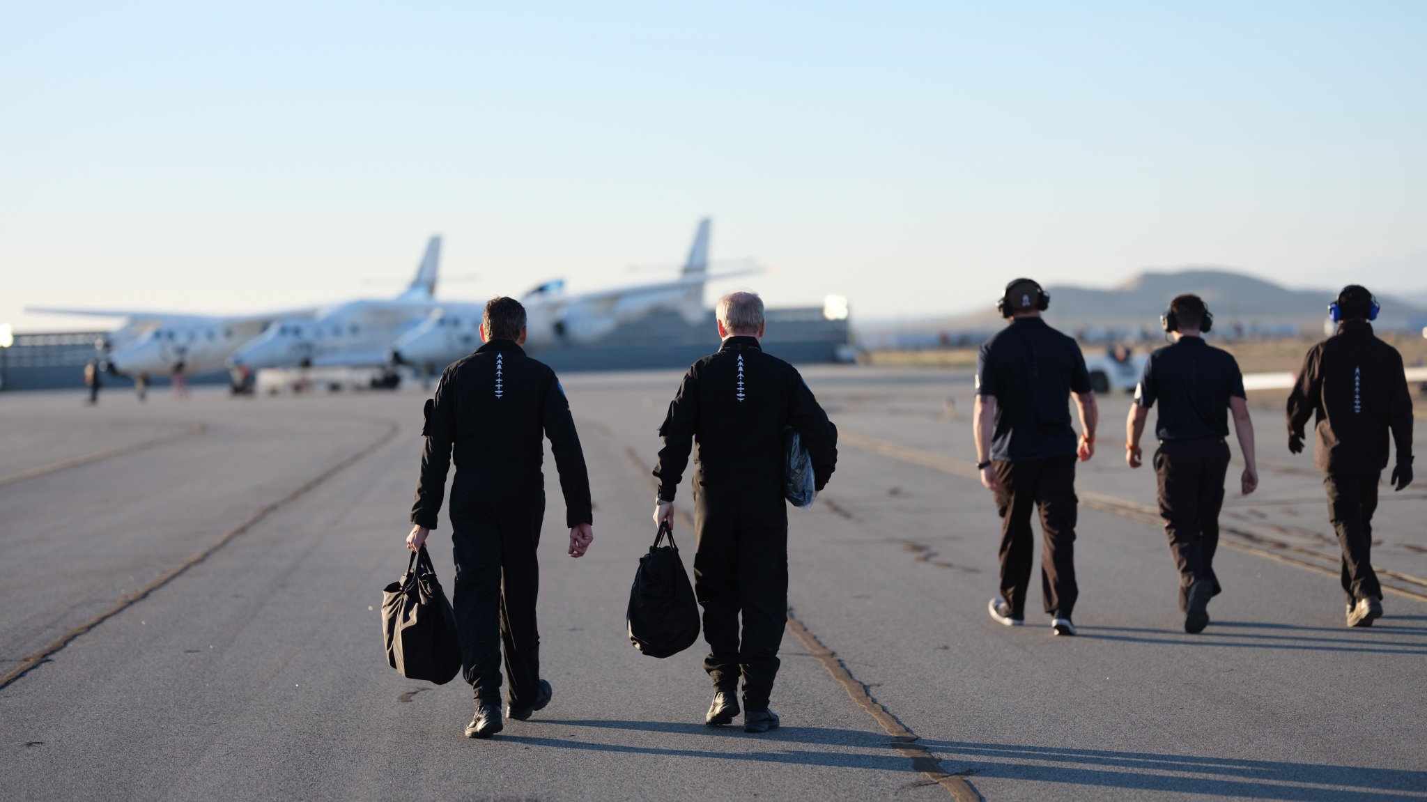 Virgin Galactic test pilots headed for the VSS Unity.