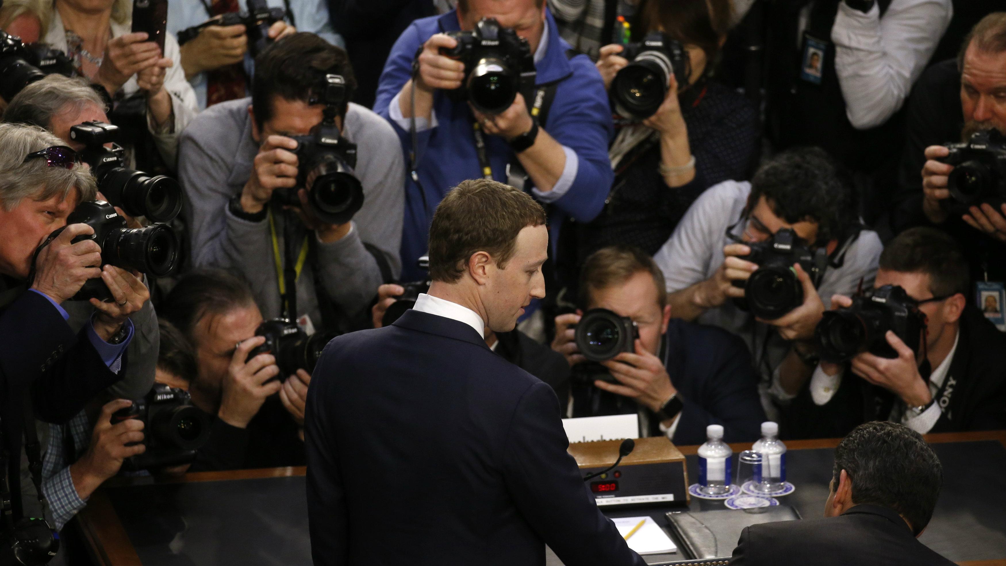 Facebook CEO Mark Zuckerberg arrives to testify before Senate committees