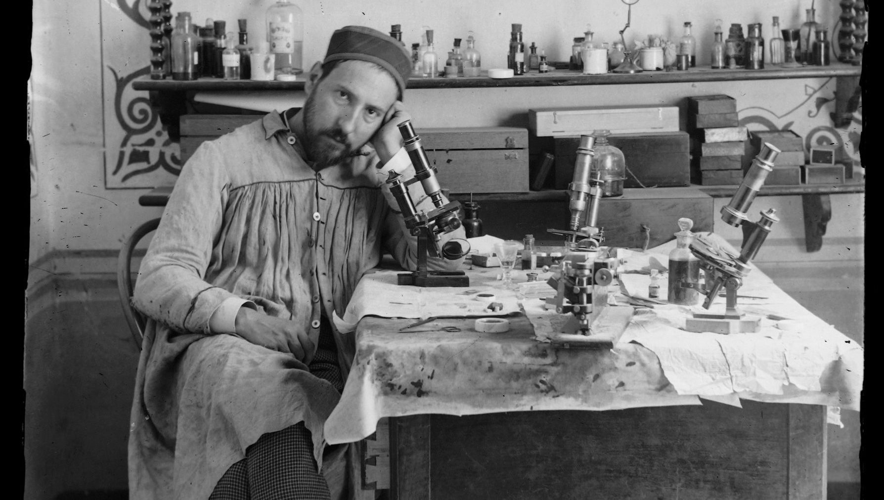 Santiago Ramón y Cajal took this self-portrait in his early thirties, while in his laboratory in Valencia, Spain.
