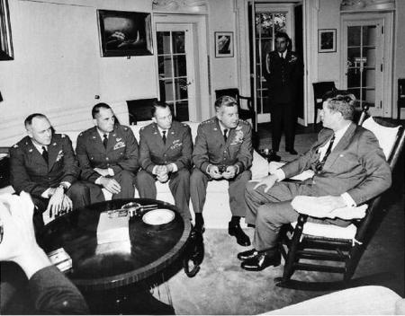 US president John F Kennedy with advisors during Cuban Missile Crisis