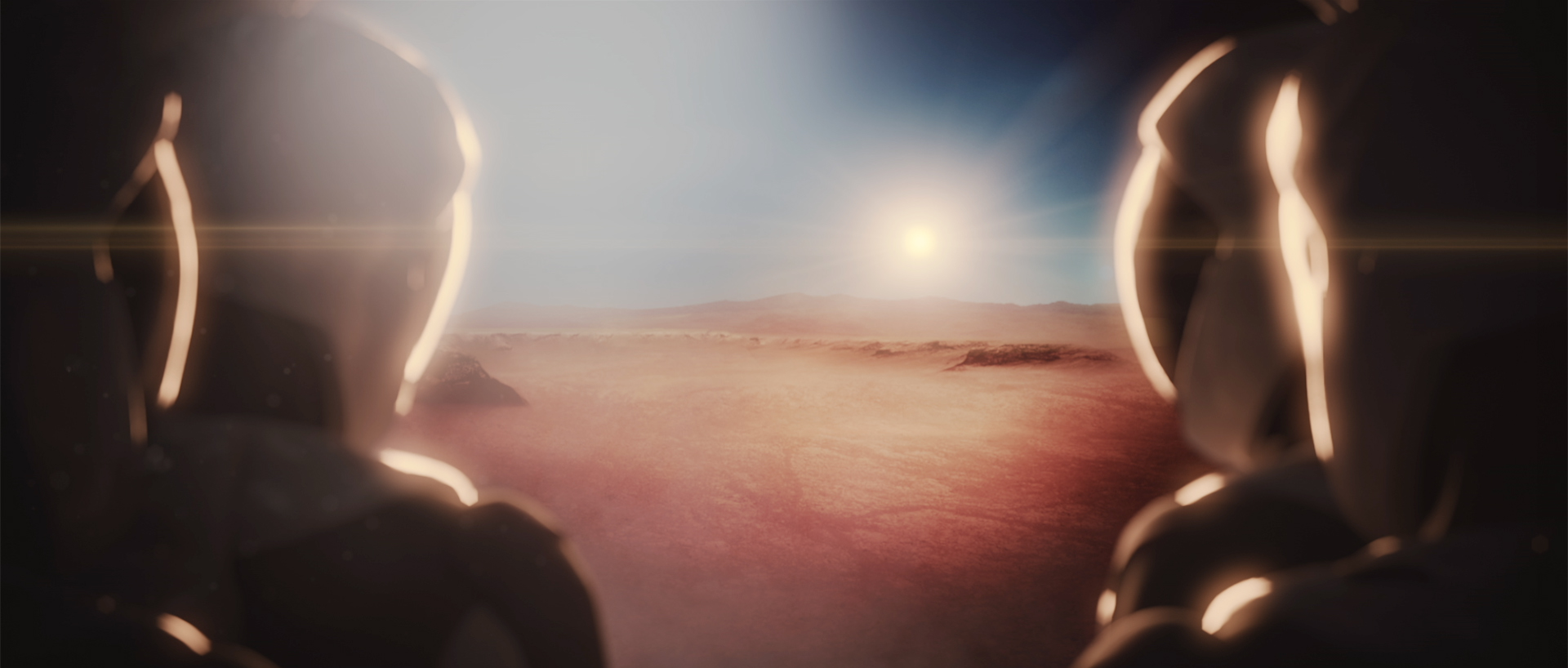 A SpaceX rendering of a human landing on Mars.