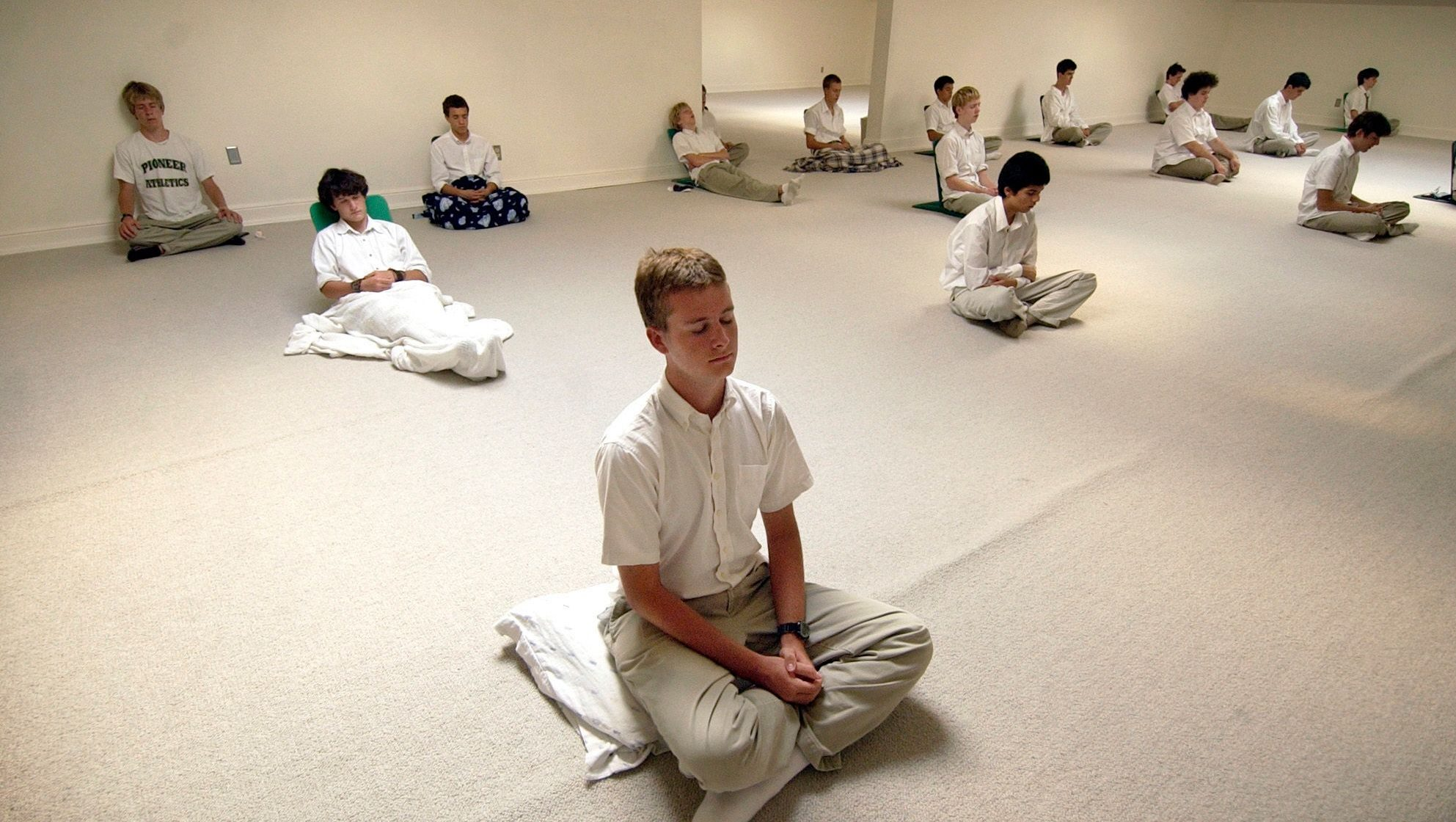 students do their daily practice of meditation