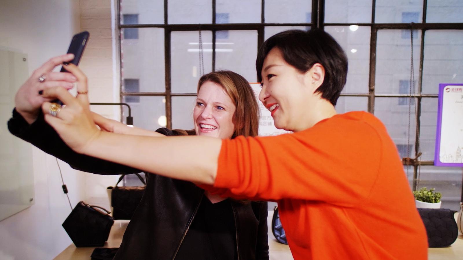 Alibaba helped Sandy Friesen, left, launch her handbag line in China.