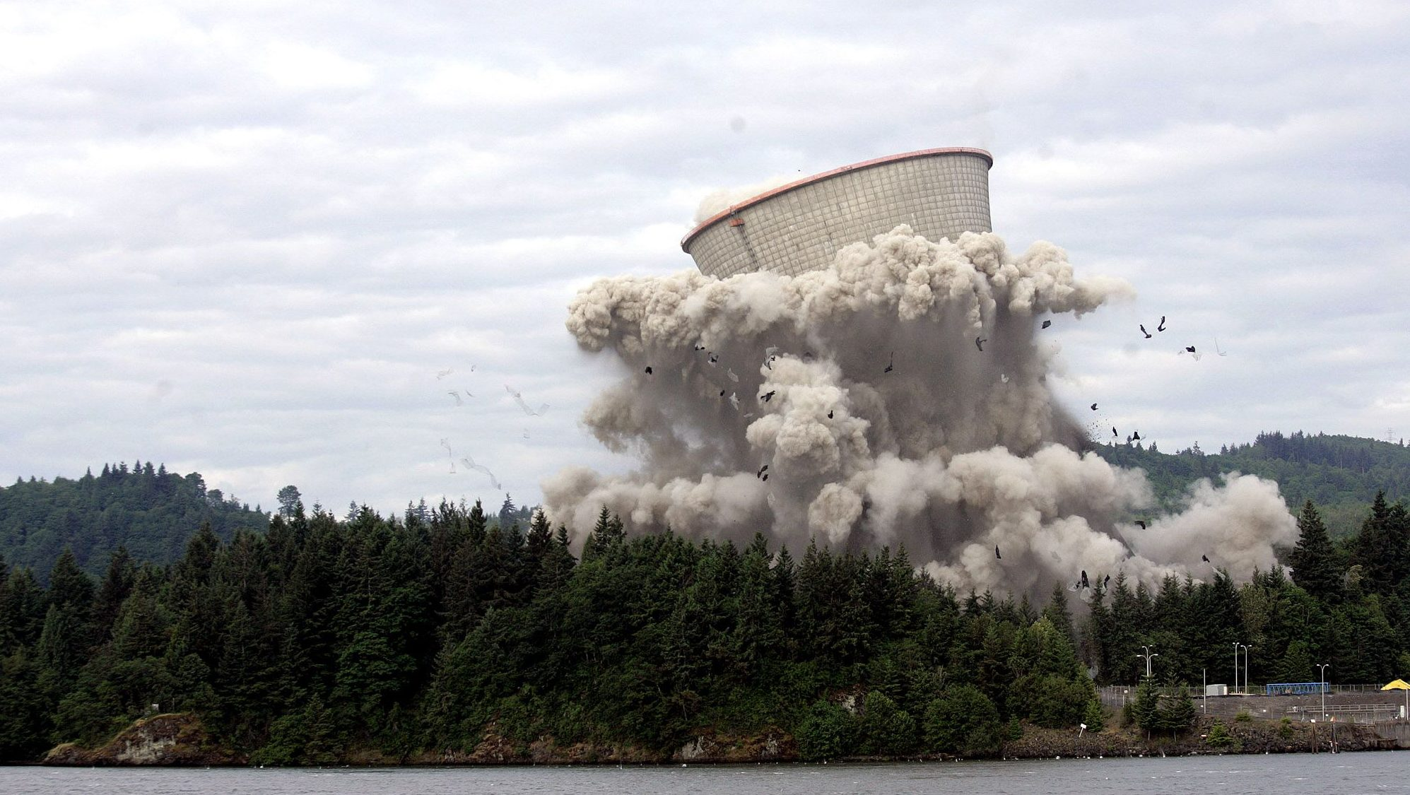 Portland General Electric's Trojan Nuclear Power Plant cooling tower is shown during its implosion Sunday, May 21, 2006, near Rainier, Ore.