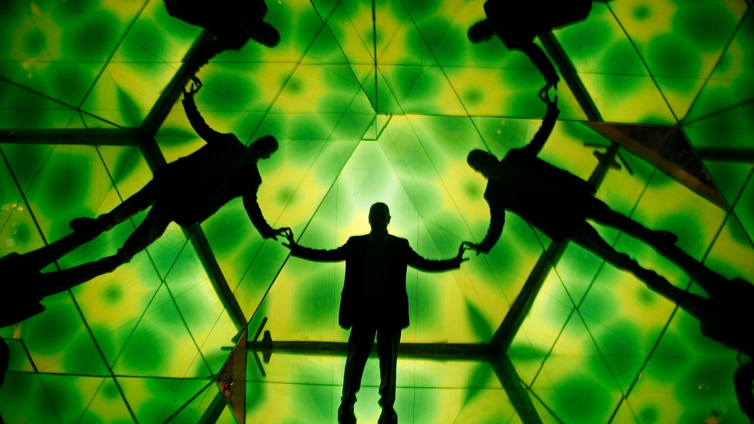 Tim O'Brien makes his way through a human kaleidoscope at the Ripley's Believe It or Not! Odditorium in San Francisco, Tuesday, June 29, 2010. The Fisherman's Wharf attraction since 1967, will reopen Wednesday after undergoing a renovation that took several months, cost $5 million and houses 300 exhibits of which 80% are new.