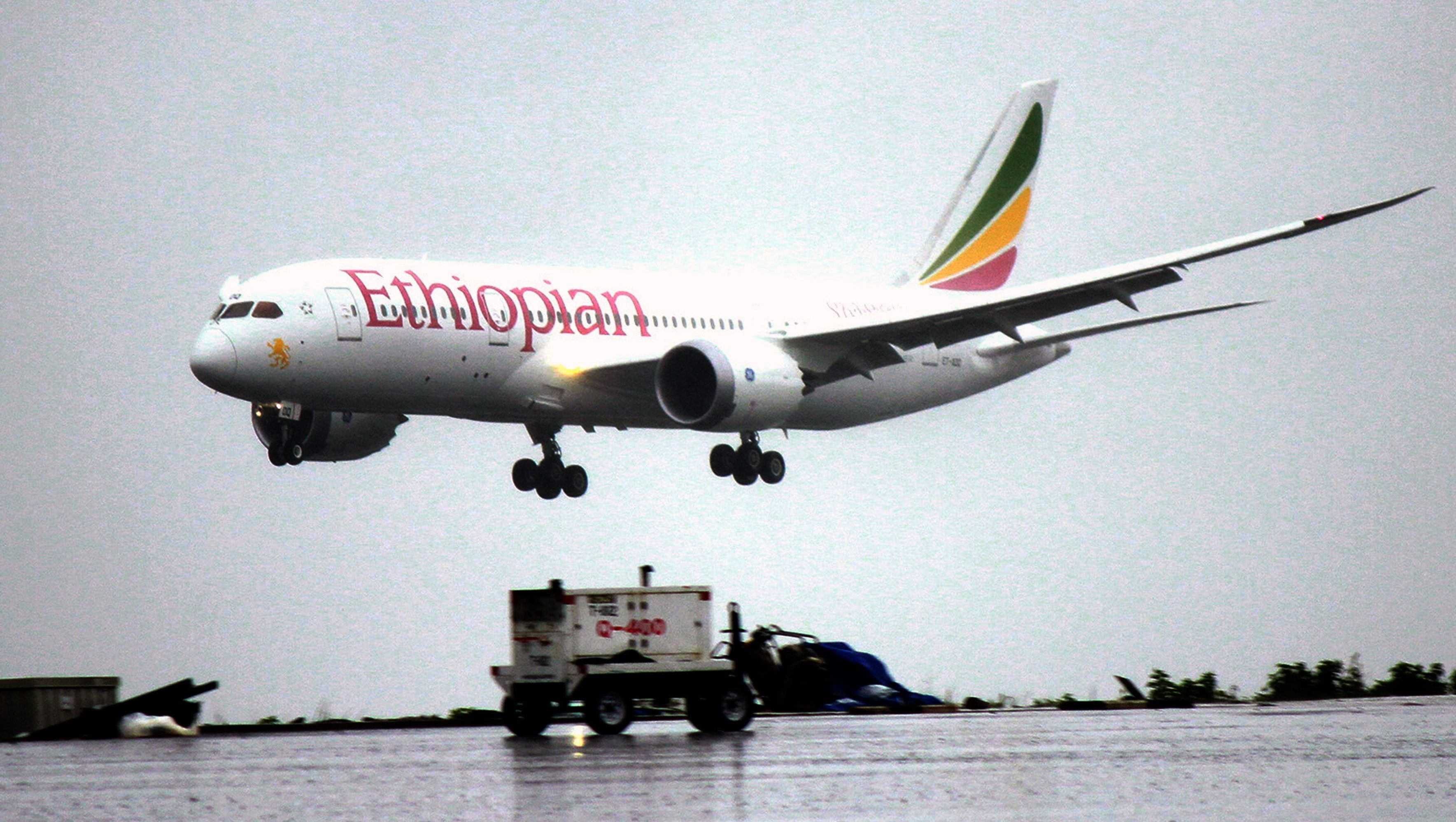 FILE - In this Friday, Aug.17, 2012 file photo, an Ethiopian Airlines Dreamliner Boeing 787 lands at Bole International airport in Addis Ababa, Ethiopia. A senior Ethiopian Airlines official said Thursday, Dec. 13, 2012 that a merger proposal made recently by the chief executive of Kenya Airways is not practical.