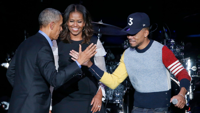 Michelle Obama, Chance The Rapper, Barack Obama