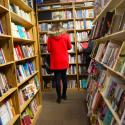 Shoppers browsing books.