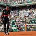 Serena Williams of the U.S. clenches her fist after scoring a point against Krystina Pliskova of the Czech Republic during their first round match of the French Open tennis tournament at the Roland Garros stadium in Paris, France, Tuesday, May 29, 2018. (AP Photo/Alessandra Tarantino)