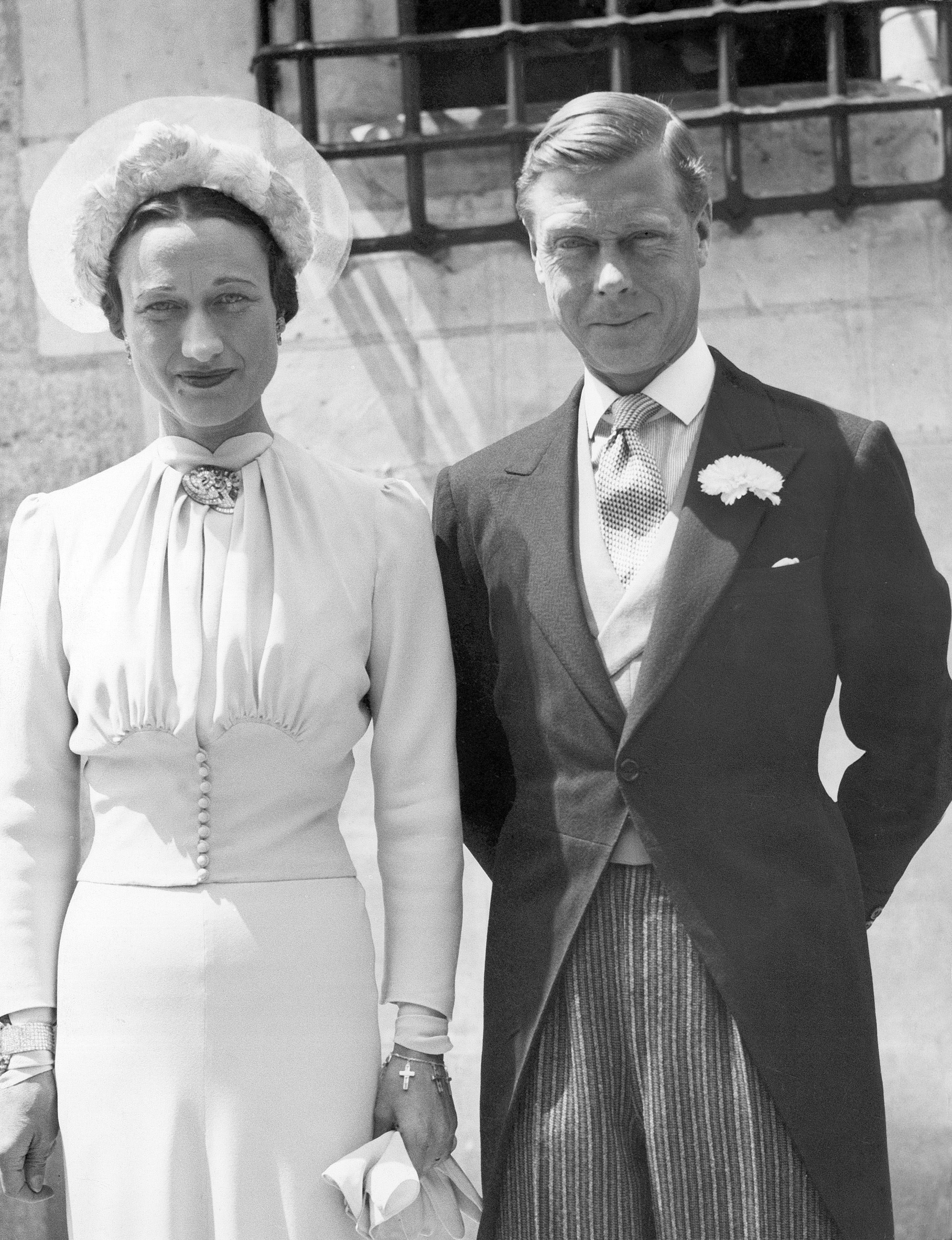 Edward VIII, former King of England, now Duke of Windsor, and his bride, Bessie Wallis Warfield Simpson are seen following the civil and religious ceremonies at the Chateau de Cande, near Tours, France, June 3, 1937. (AP Photo/BIPPA)