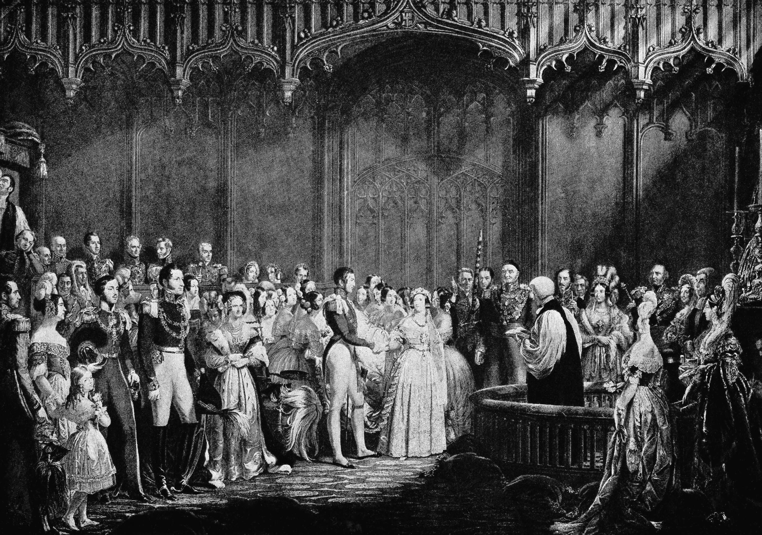 FILE - In this Feb. 10, 1840 file image, an illustration depicts the wedding of Britain's Queen Victoria, centre right, and to Prince Albert, centre left, in The Chapel Royal at St. James's Palace in London, England. The celebrated silk-and-lace bridal gown worn by Queen Victoria offers some clues about what Kate Middleton will wear when she walks down the aisle April 29, even if much has changed since Victoria's low-key wedding in 1840. Just as Victoria used English lace and silk woven in London to show support for British industry, Middleton faces overwhelming pressure to use a British designer. (AP Photo/File)