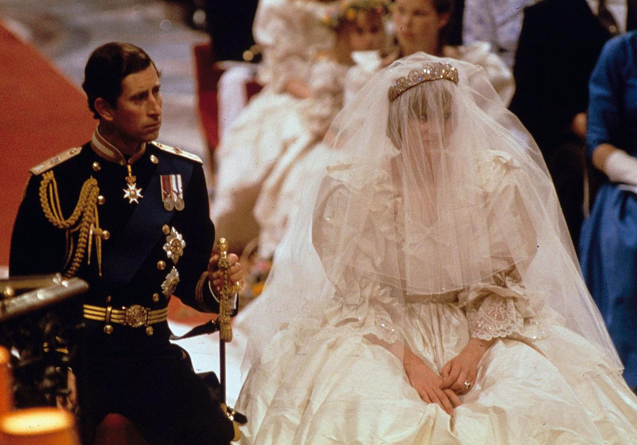 Prince Charles and Lady Diana Spencer are shown on their wedding day at St. Paul's Cathedral in London on July 29, 1981. (AP Photo)