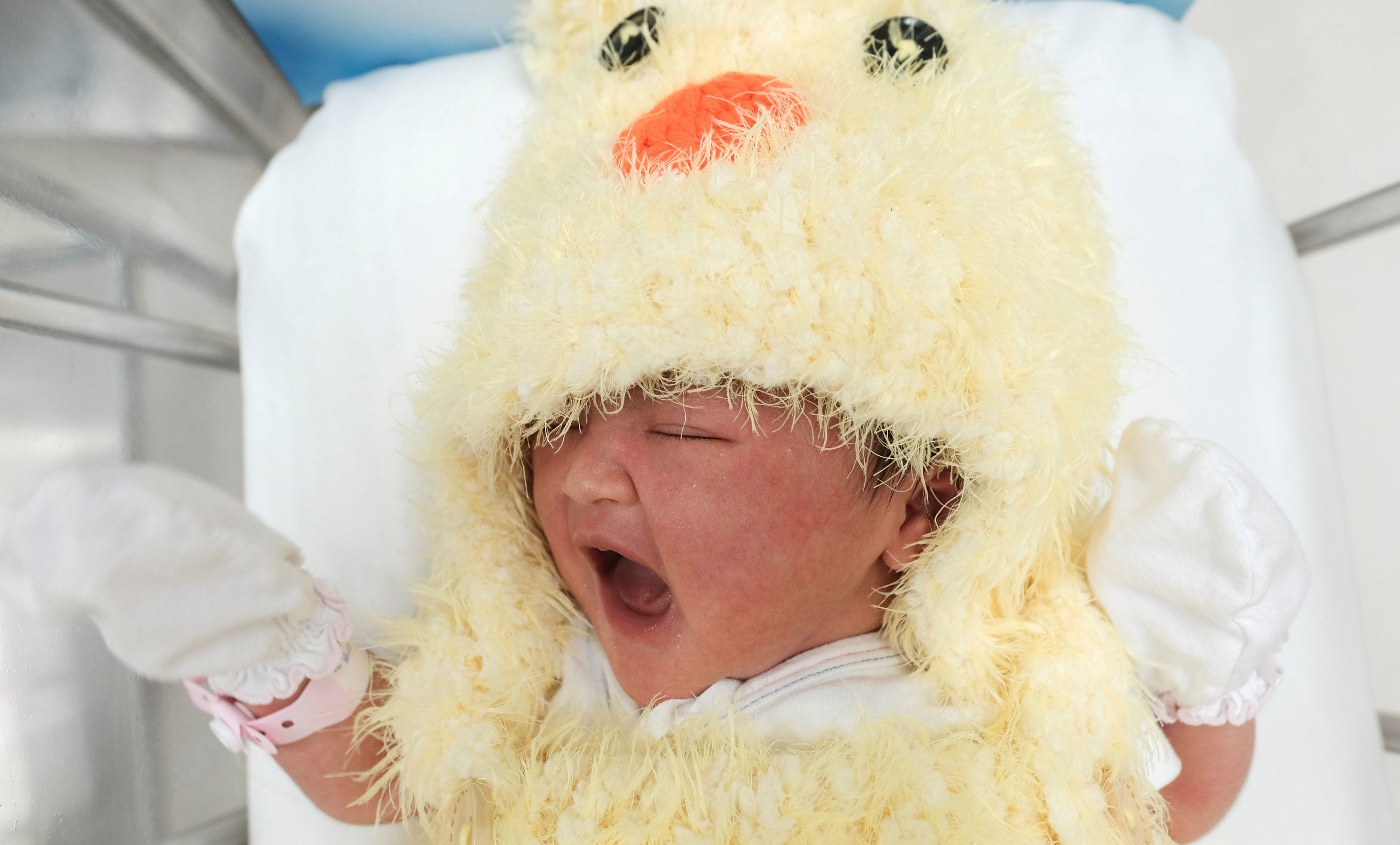 A newborn baby wearing a chicken costume to celebrate the Chinese New Year of the Rooster is pictured at the nursery room of Paolo Chockchai 4 Hospital, in Bangkok, Thailand January 27, 2017.
